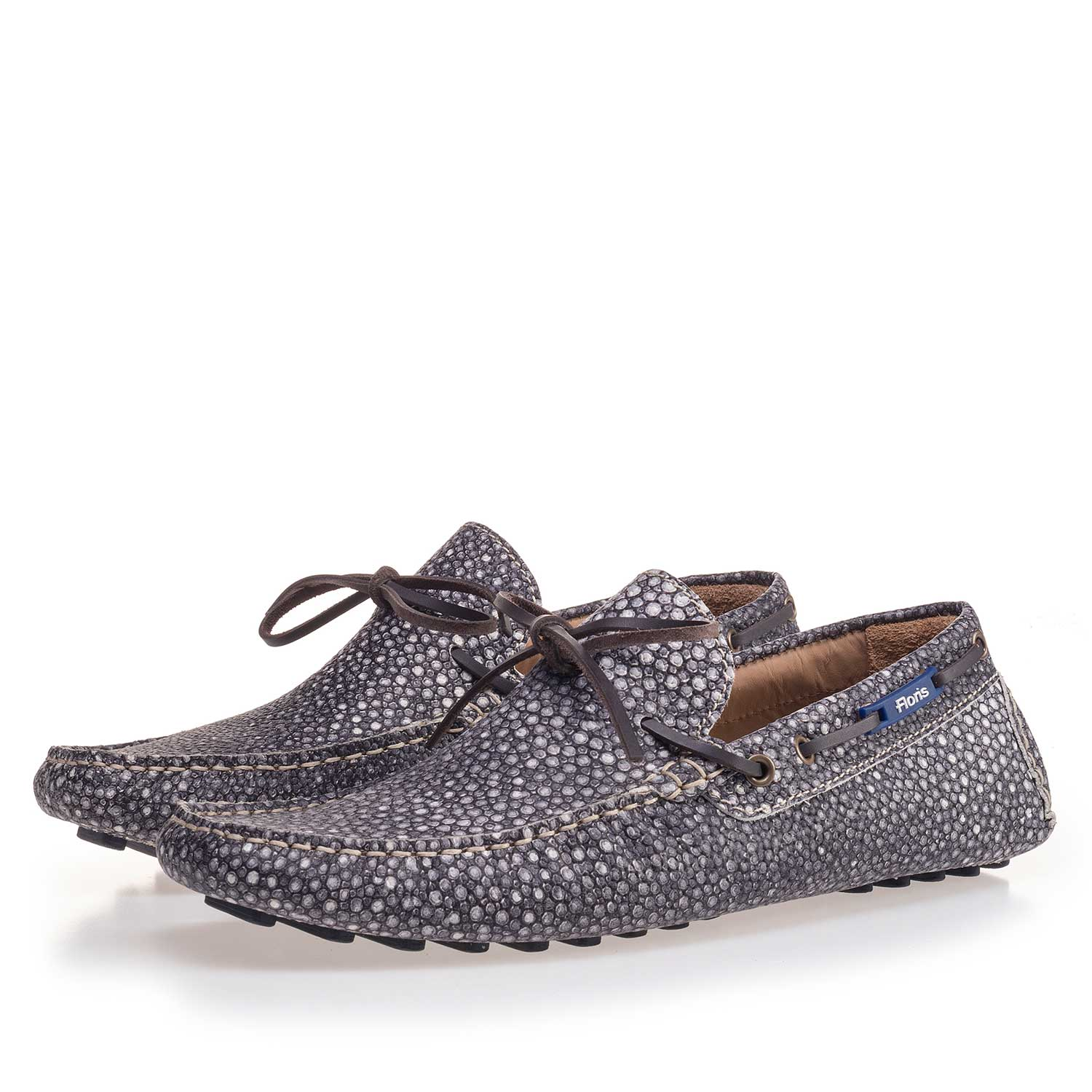 15027/13 - Grey moccasin with rye pattern