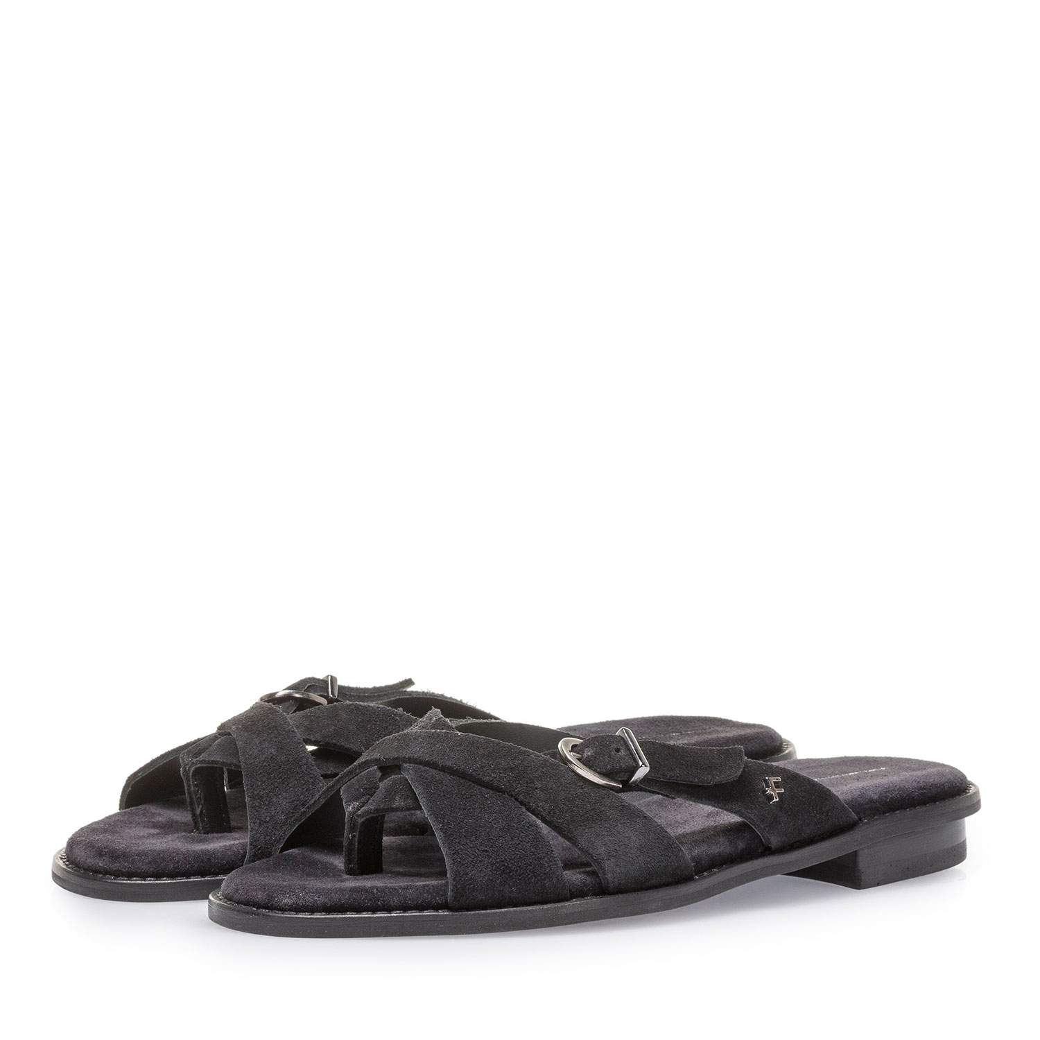 85926/00 - Black suede leather slipper