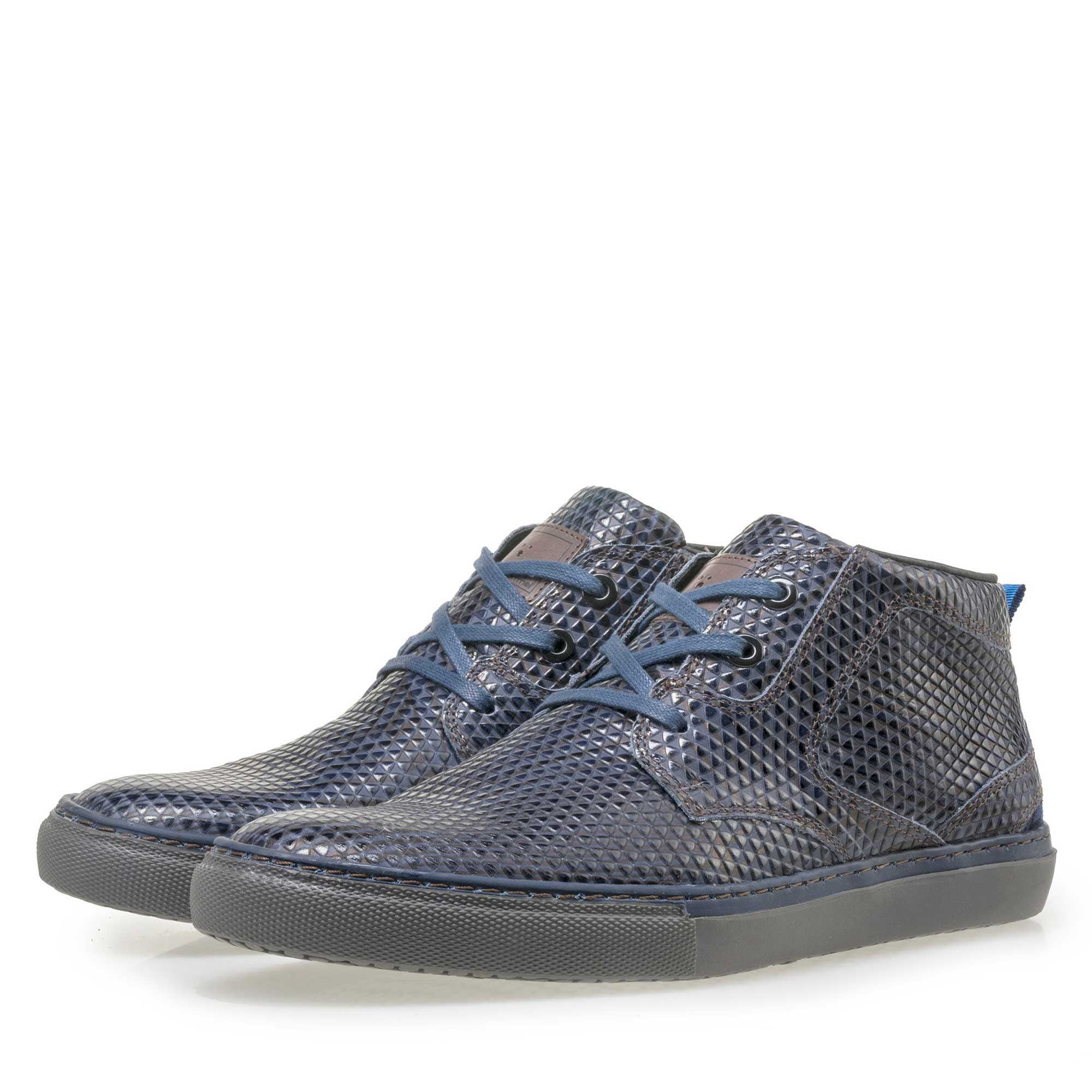 10945/09 - Floris van Bommel men's blue leather lace boot finished with a striped pattern