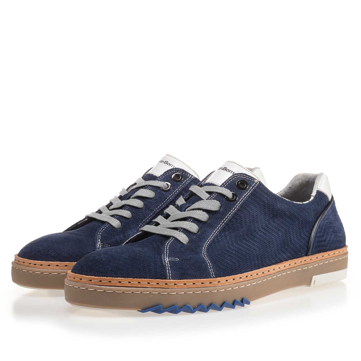 14057/04 - Blue, suede leather sneaker with pattern
