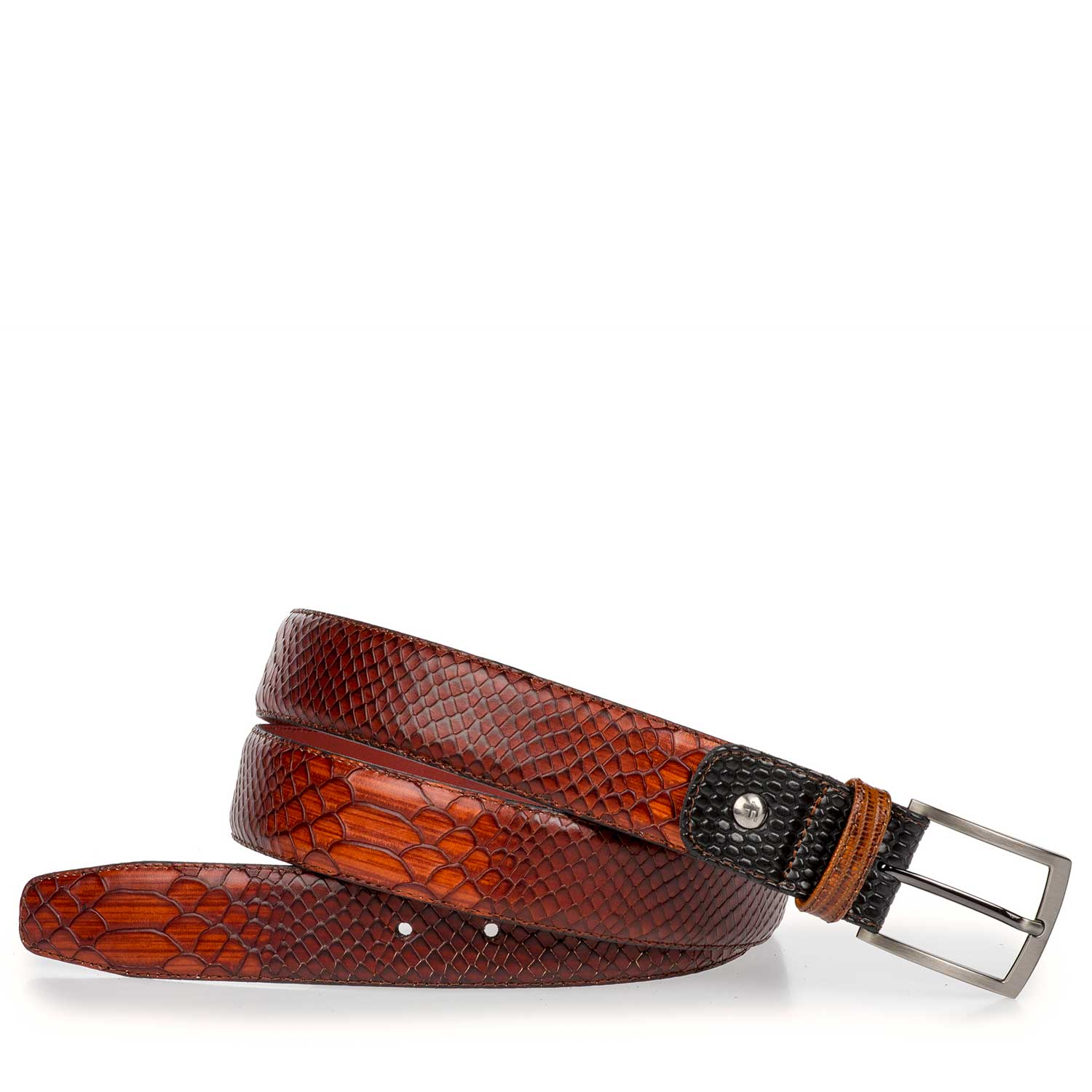 75188/11 - Dark cognac-coloured leather belt with snake print