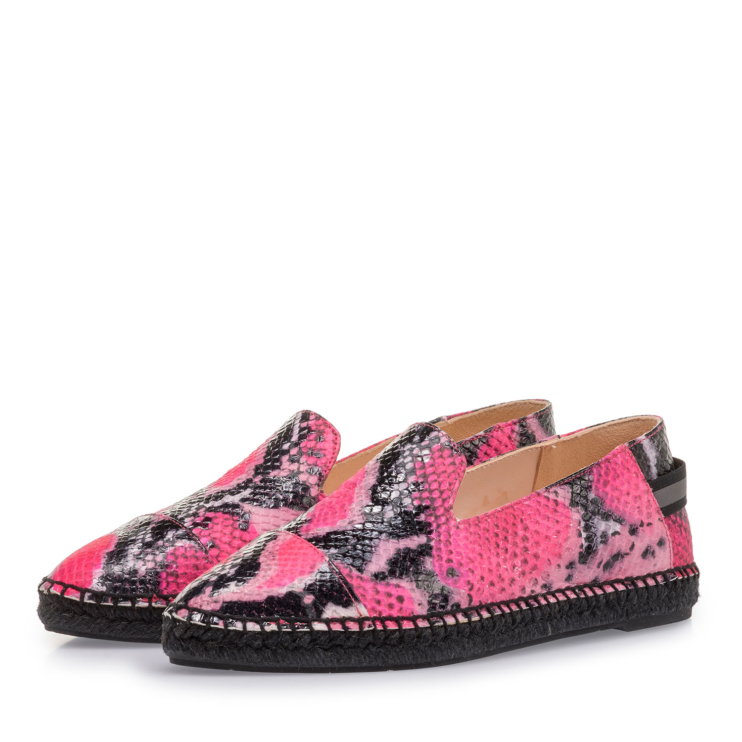 85420/04 - Fluorescent pink espadrilles with snake print