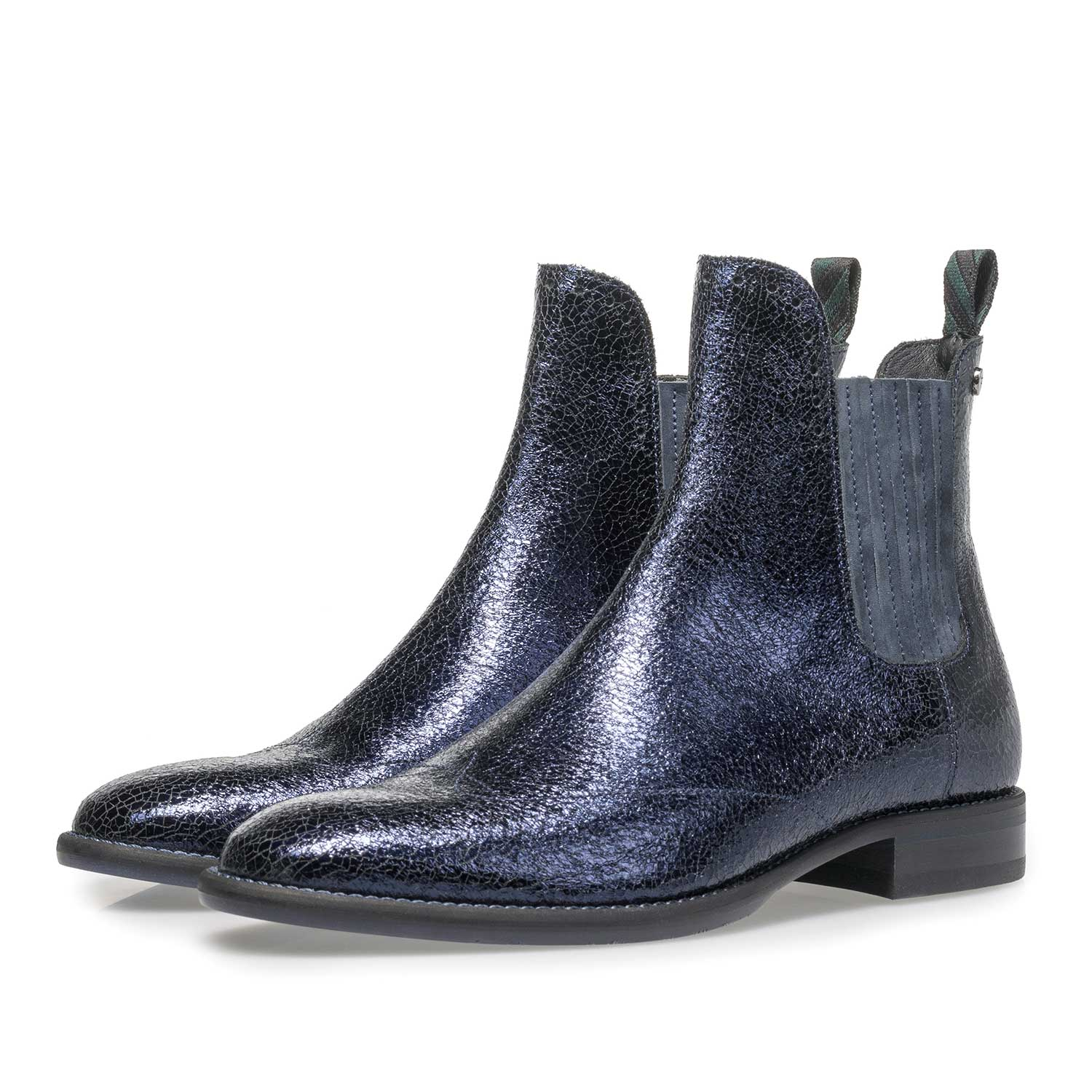 85601/03 - Dark blue leather Chelsea boot with metallic print