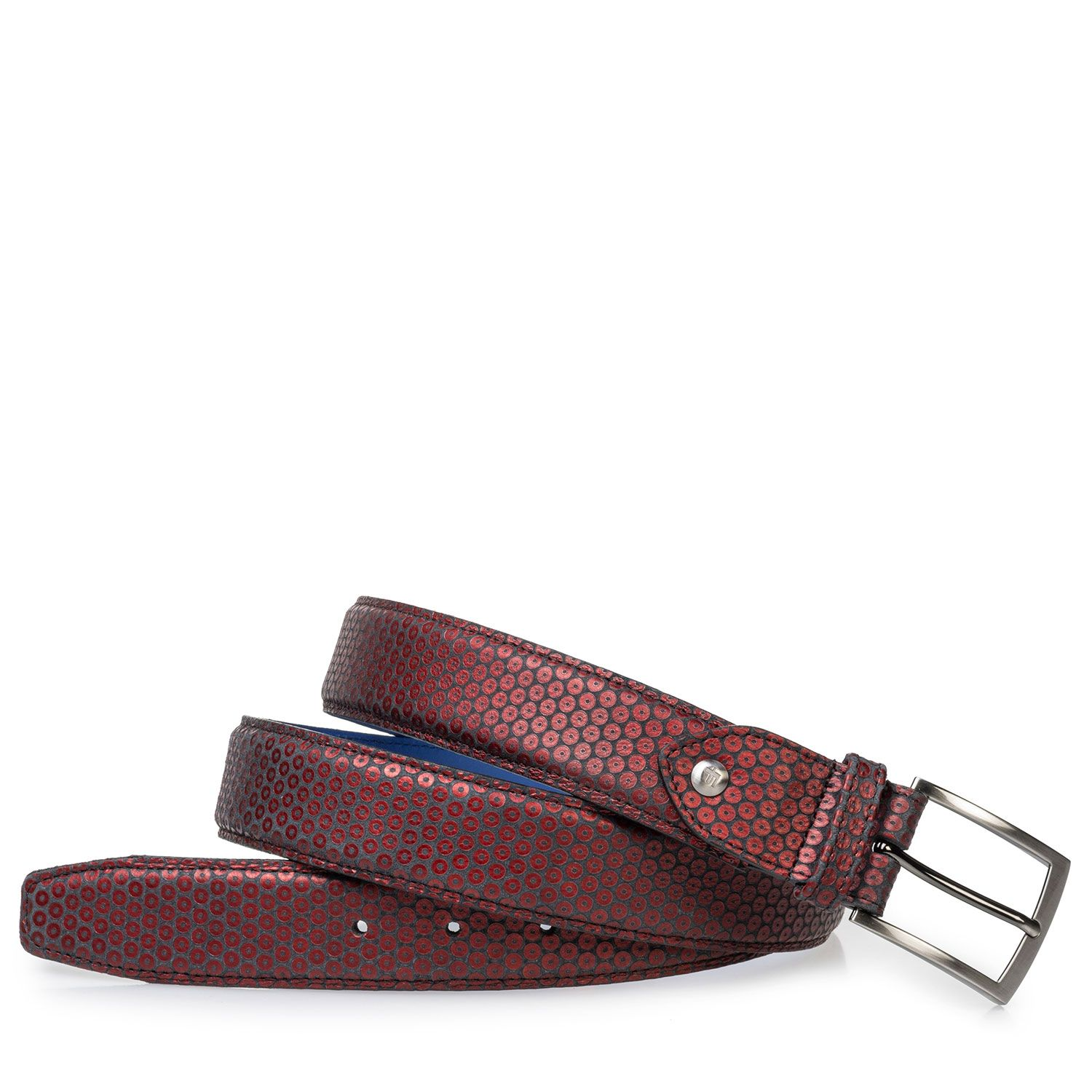 75203/50 - Leather belt red with print