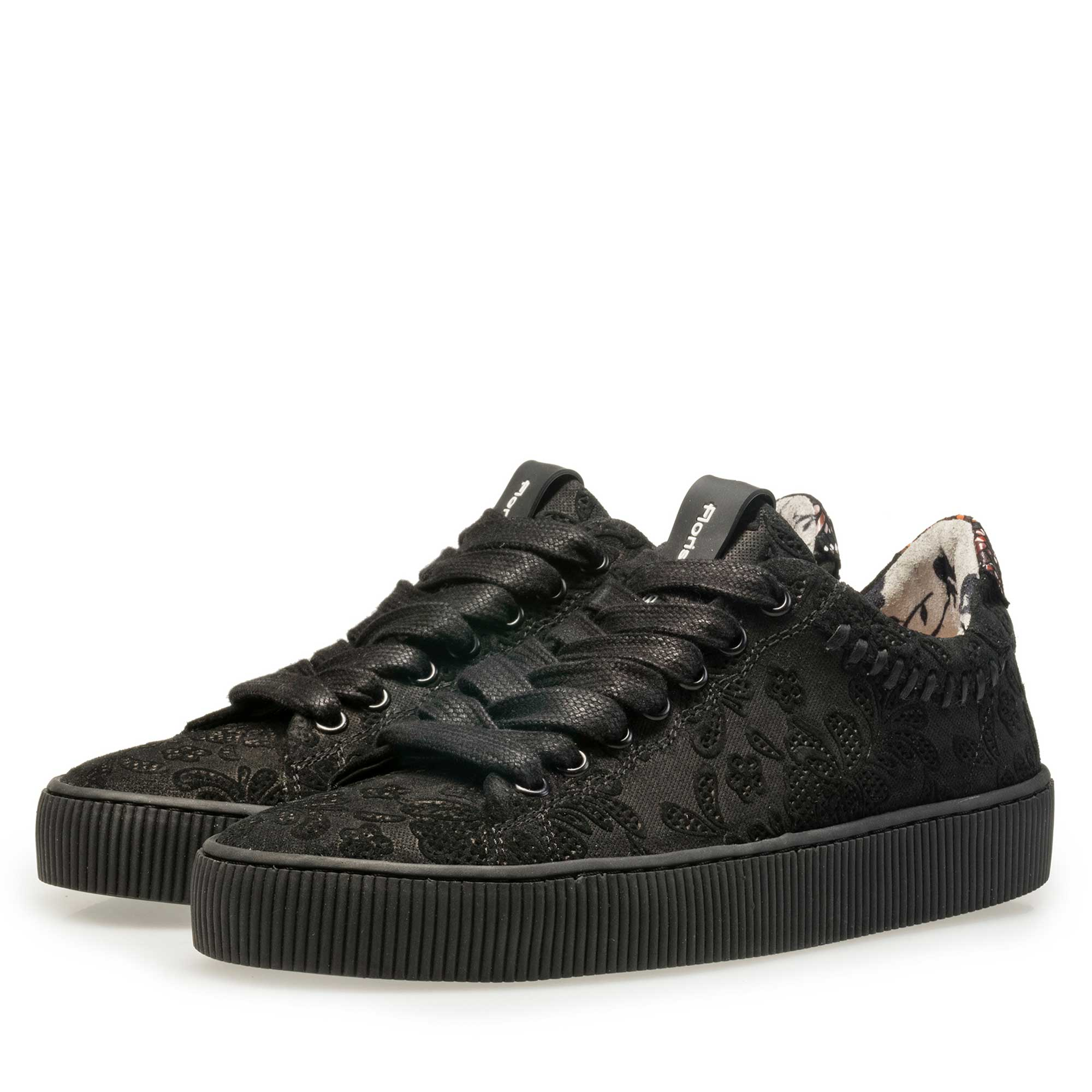 85215/01 - Floris van Bommel black suede leather sneaker