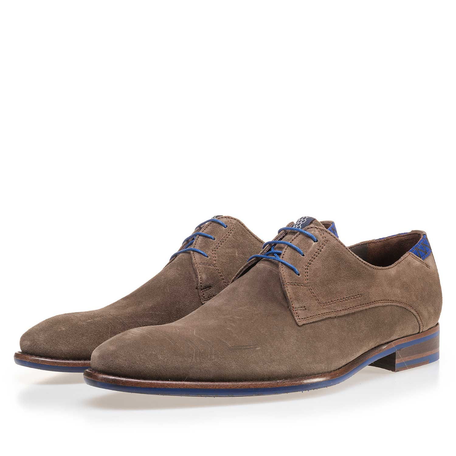 14092/02 - Taupe-coloured suede leather lace shoe