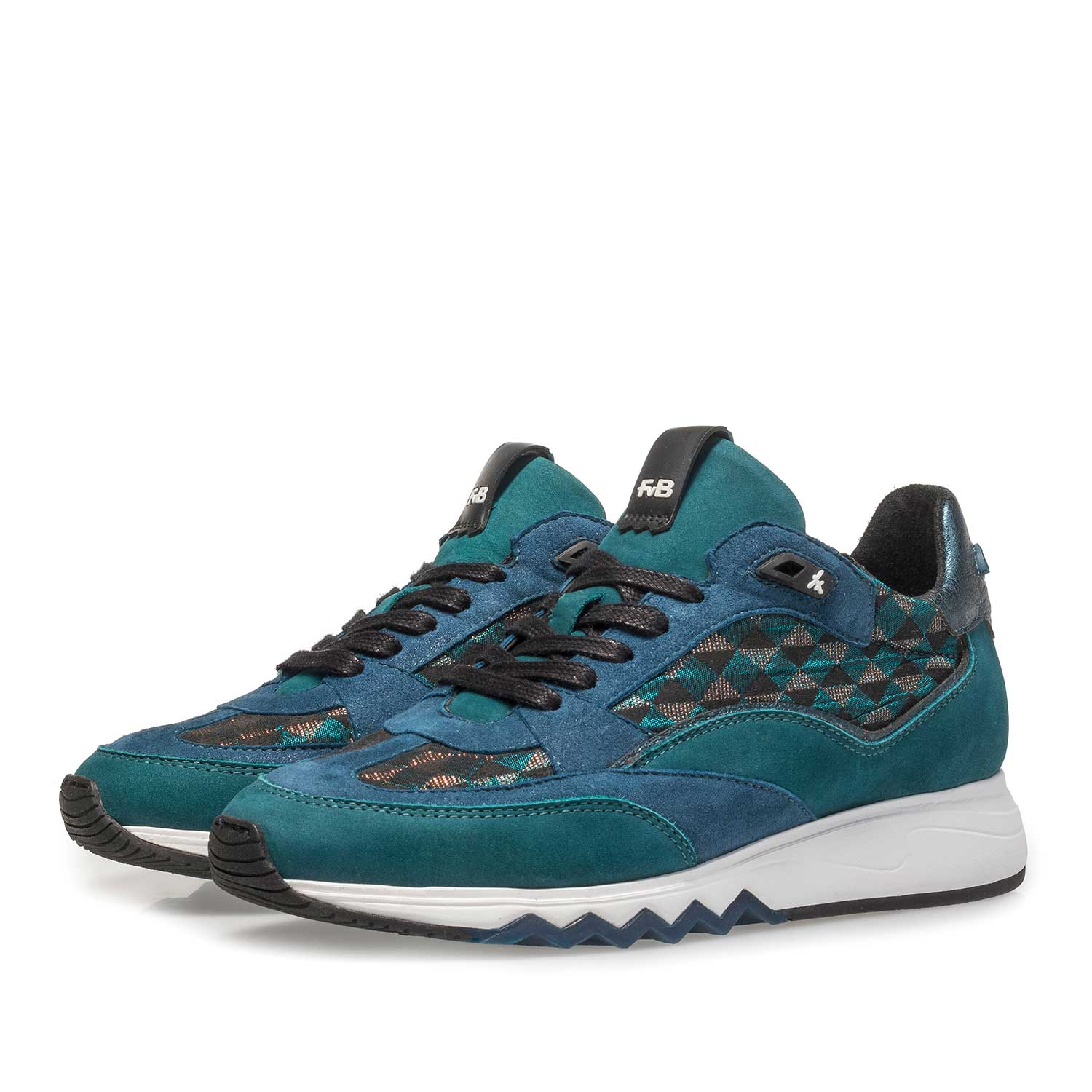 85289/02 - Green suede leather sneaker with graphic print