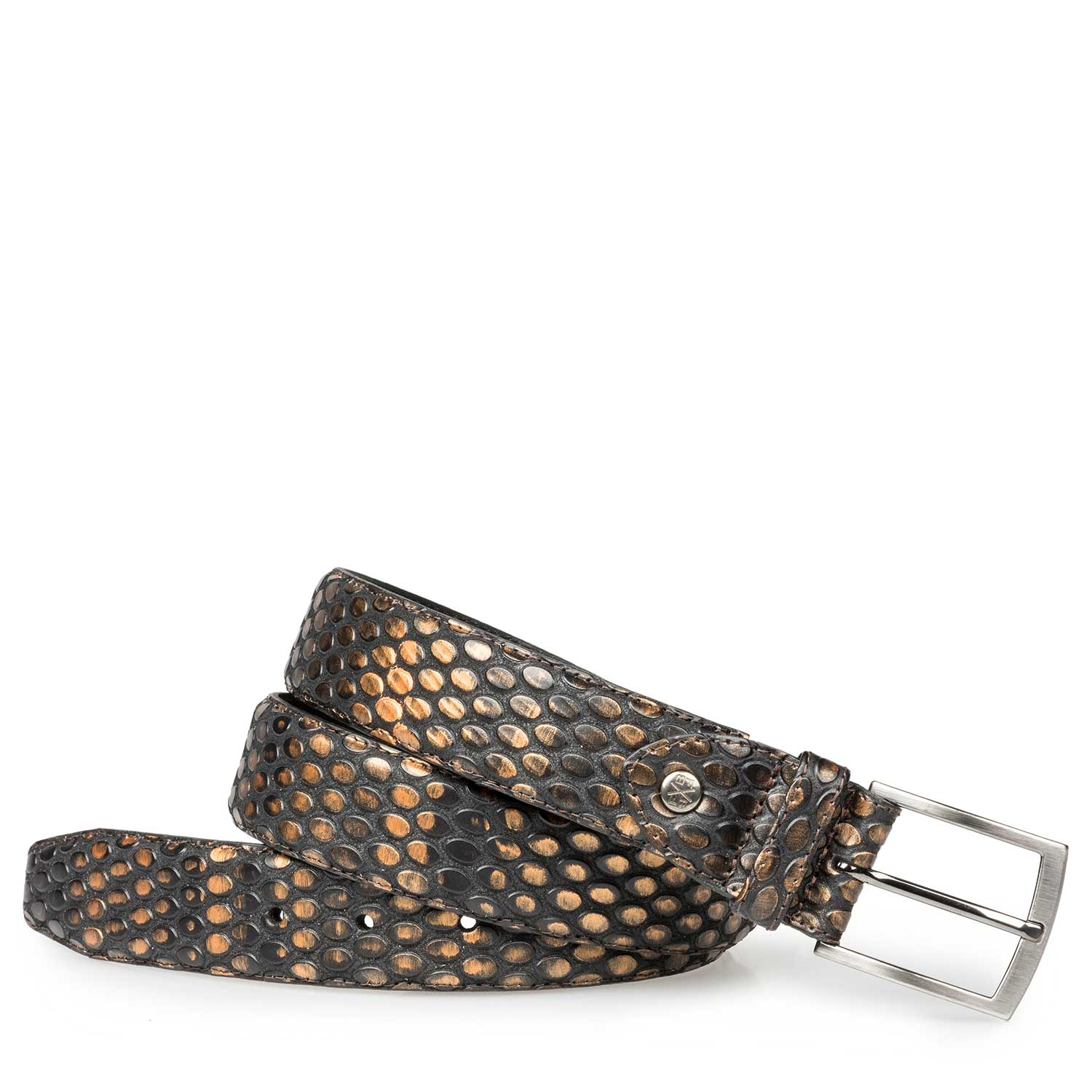 75190/12 - Bronze-coloured leather belt with coffee bean print