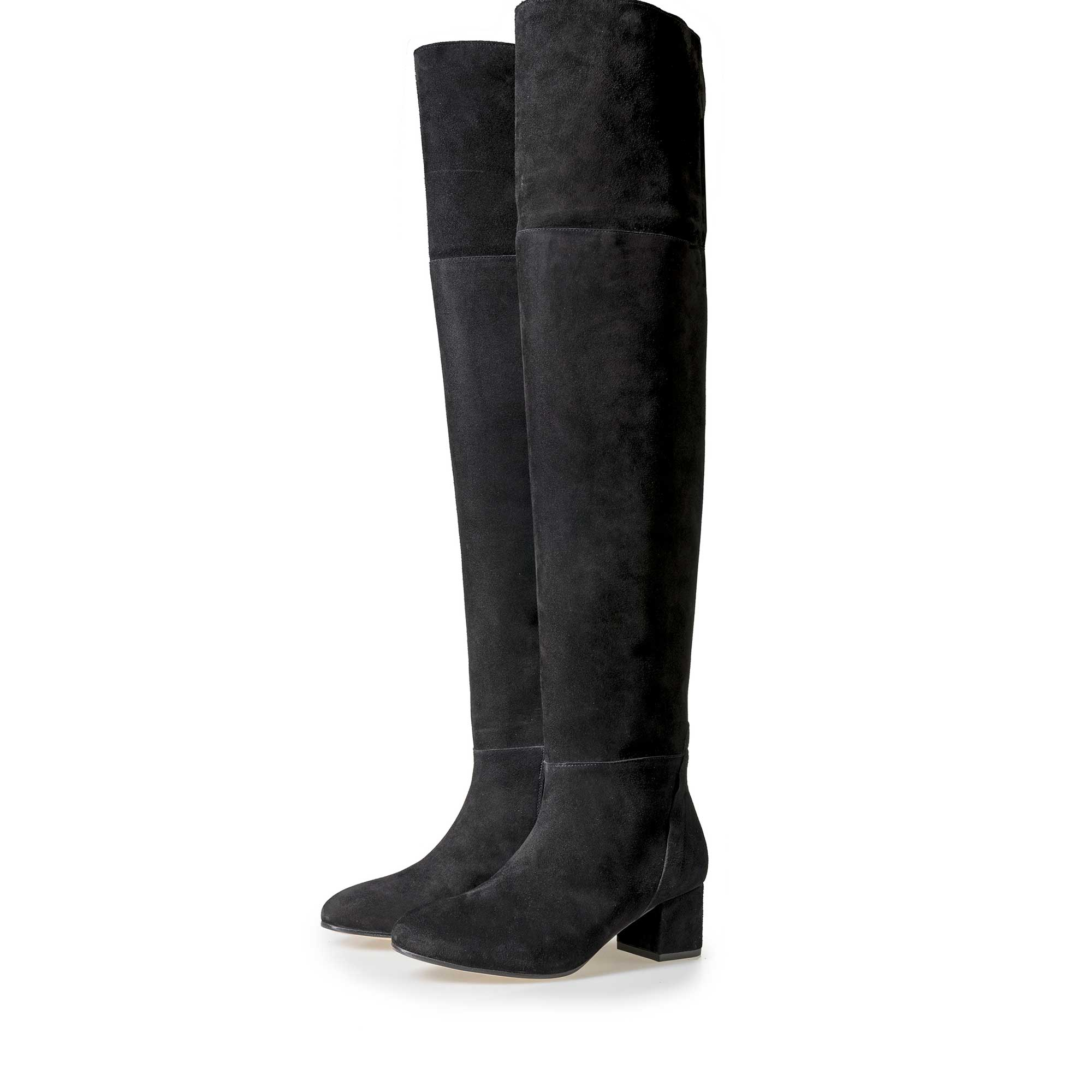85182/01 - Floris van Bommel women's black suede leather over knee boots