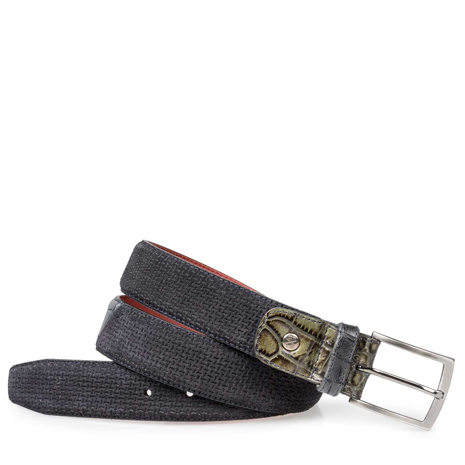 75188/05 - Blue calf's suede leather belt with structural pattern