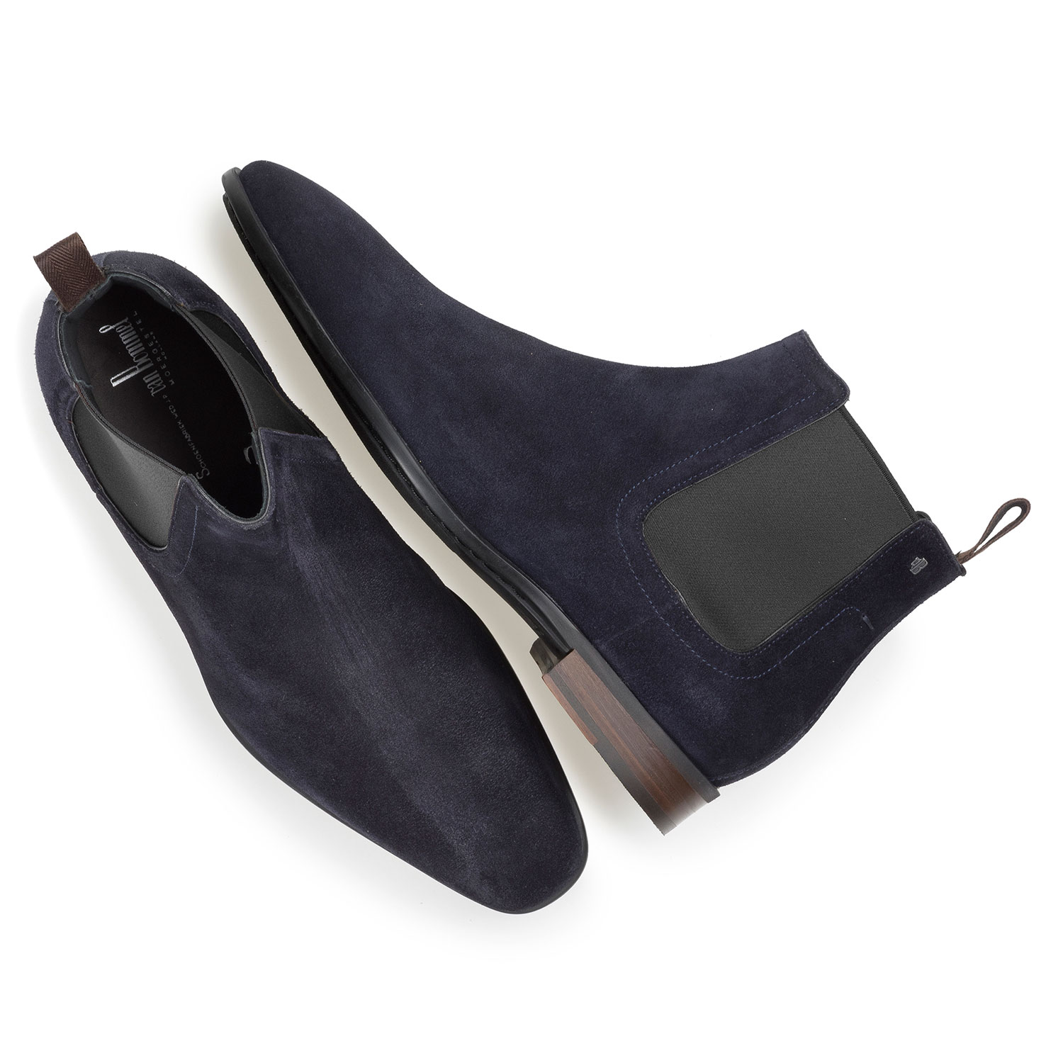 10342/01 - Dark blue waxed suede leather Chelsea boot