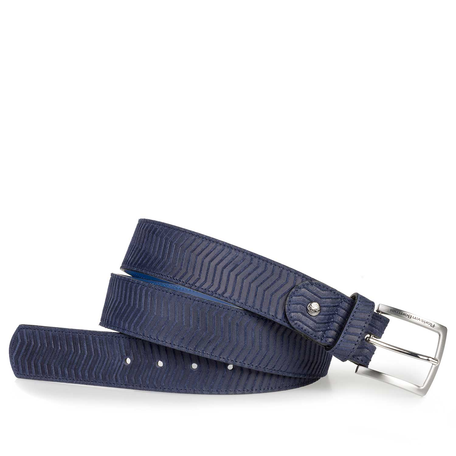75184/14 - Dark blue suede leather belt with a zig-zag print