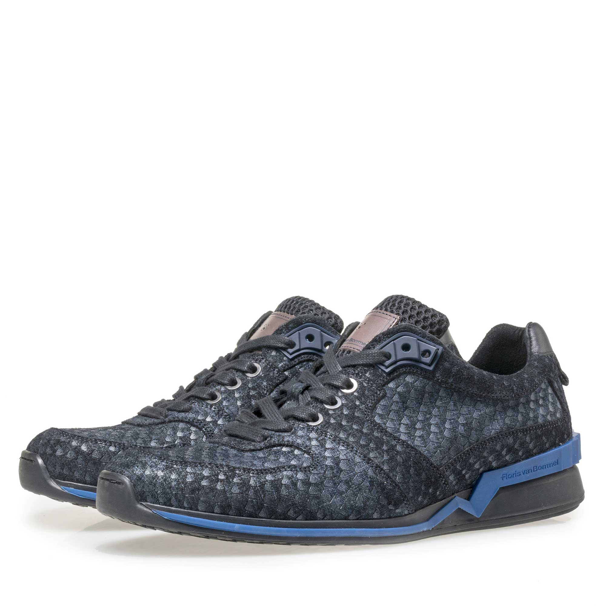 16176/04 - Floris van Bommel blue suede leather snake print sneaker