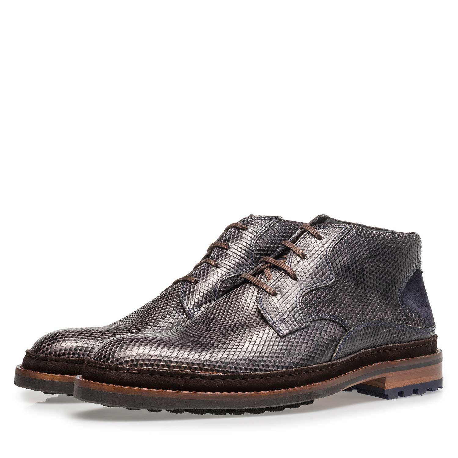 10509/07 - Dark grey leather lace boot with snake print
