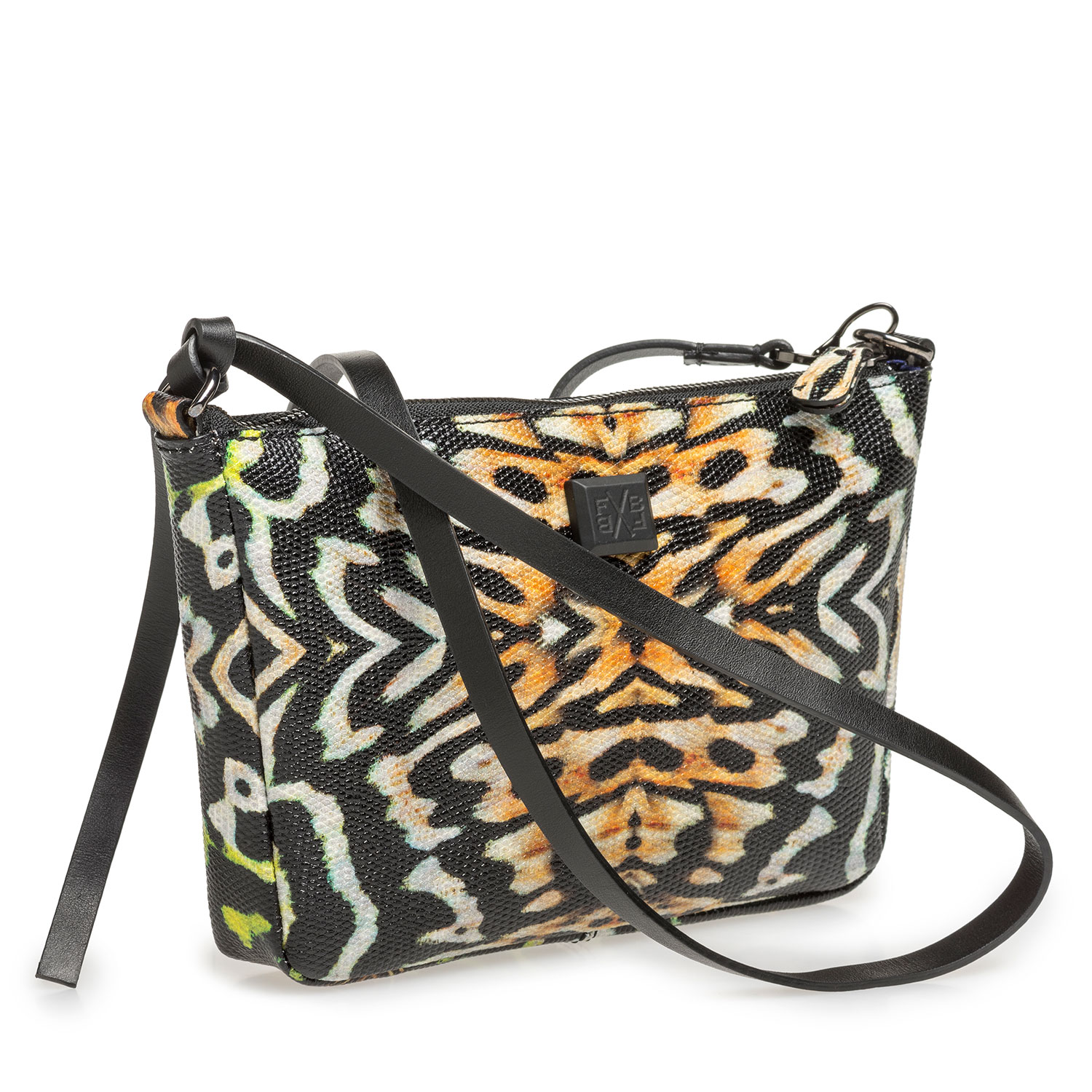 89019/00 - Black leather bag with orange-coloured print