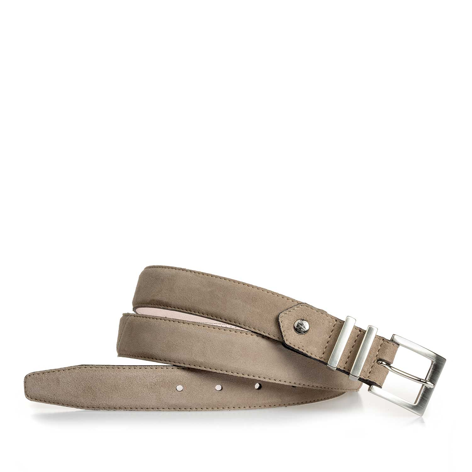 75808/00 - Taupe-coloured calf's suede leather belt