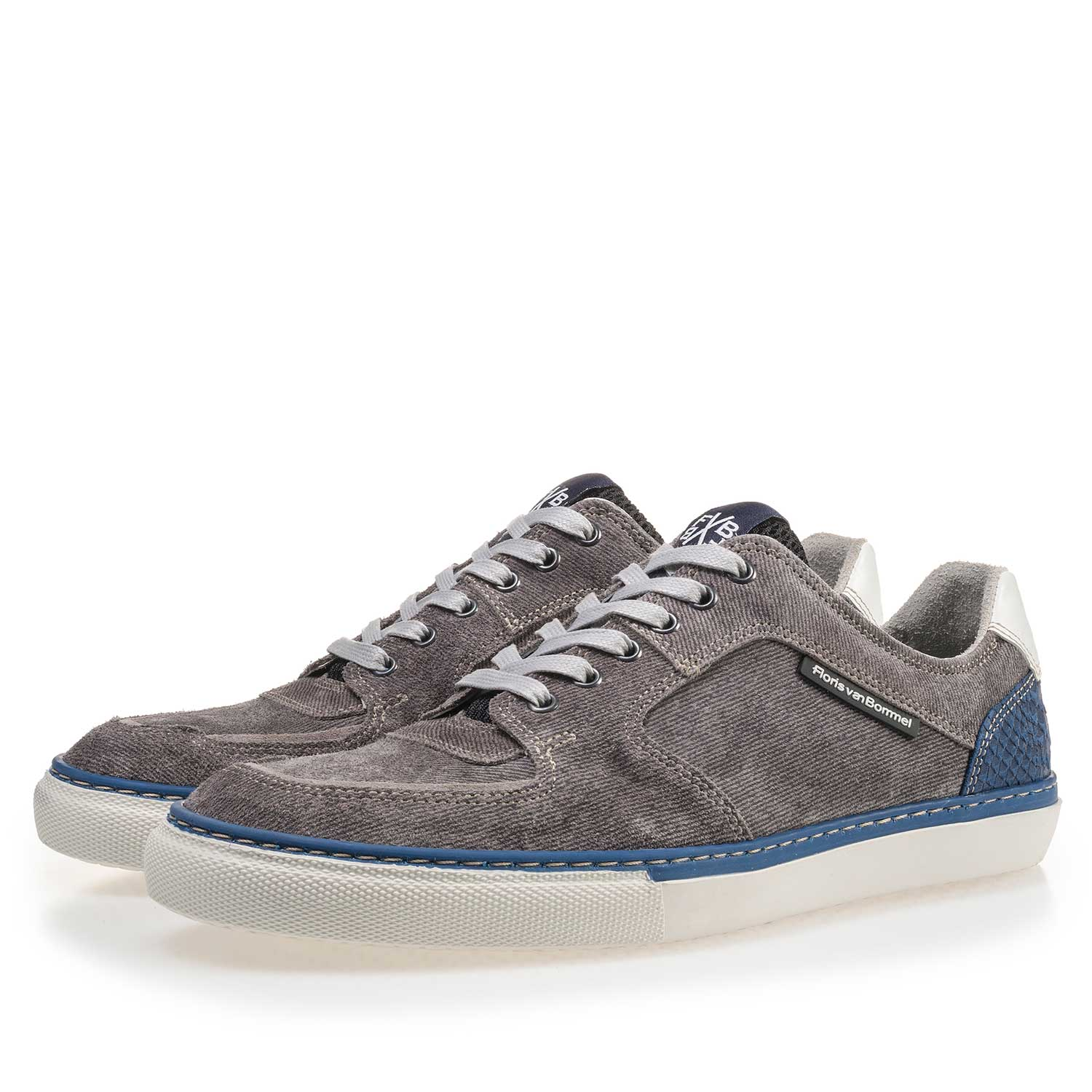 16252/03 - Grey patterned suede leather sneaker