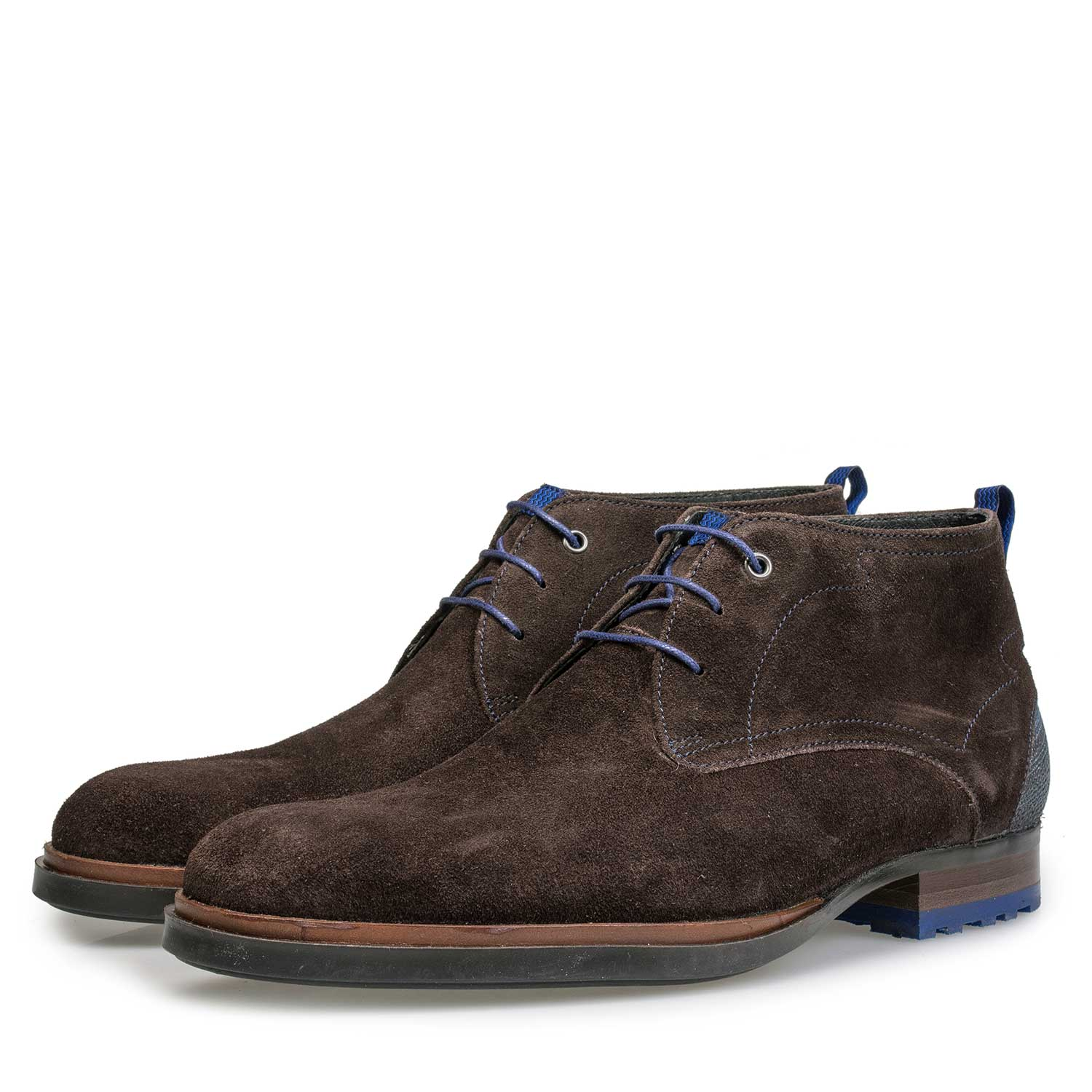 10947/11 - Dark brown calf's suede leather lace boot