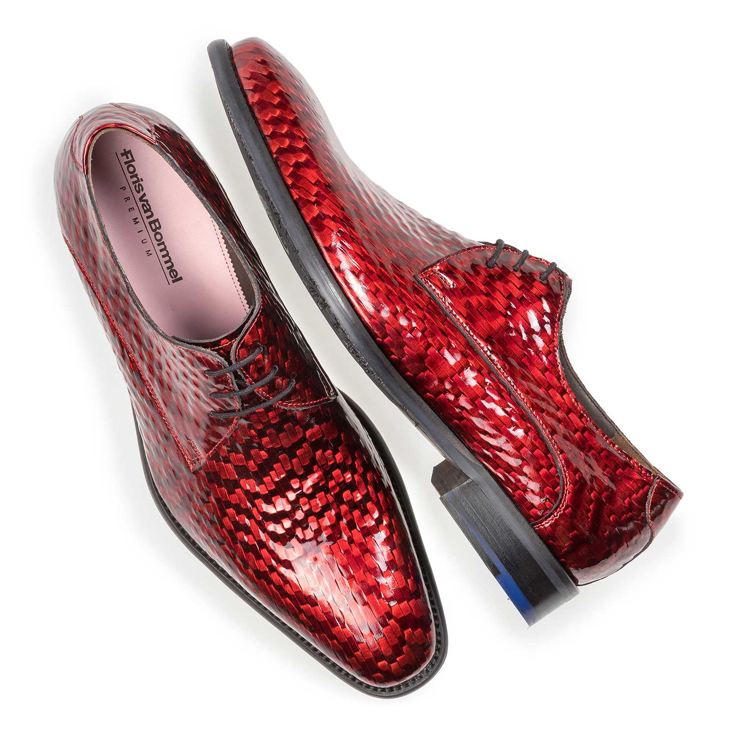 18123/01 - Premium red printed patent leather lace shoe