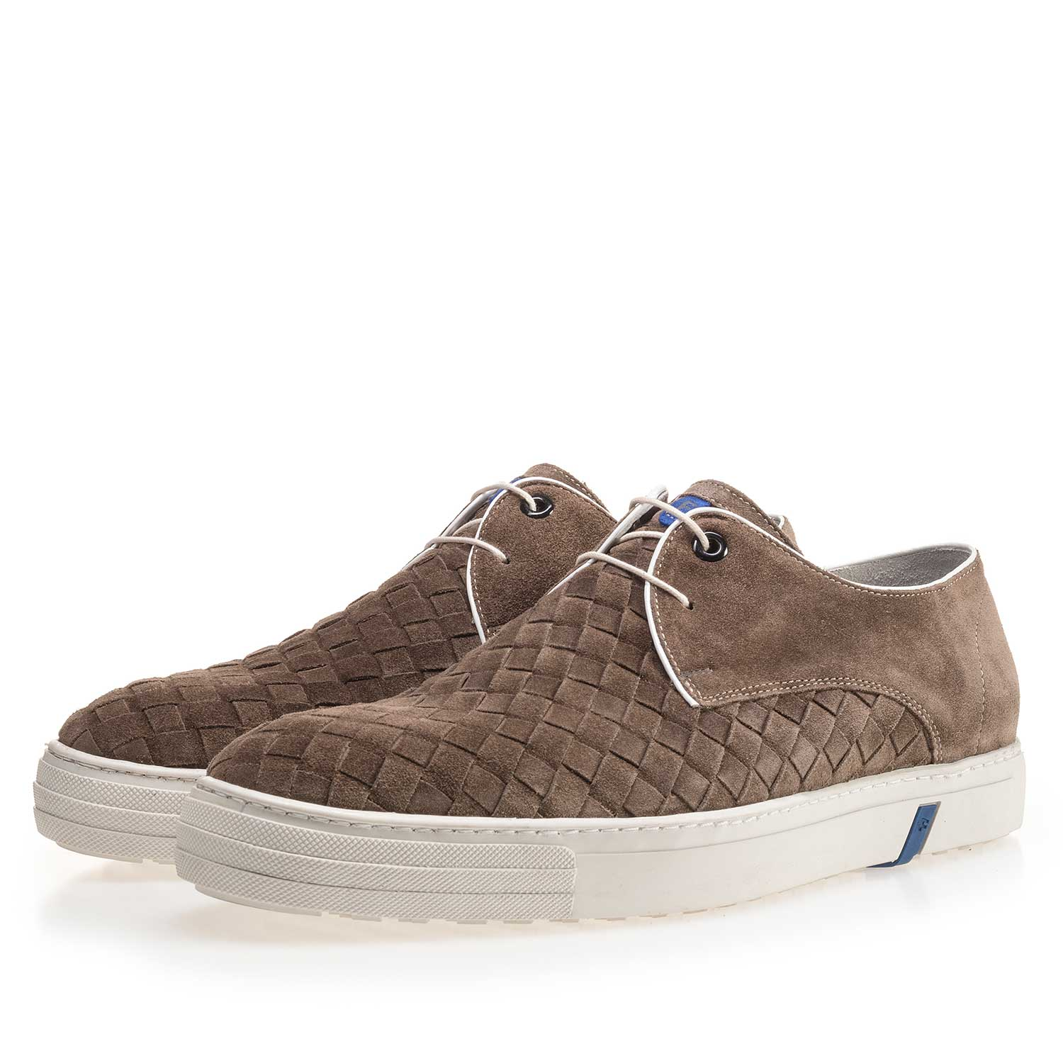 14451/07 - Taupe-coloured lace shoe made of braided leather