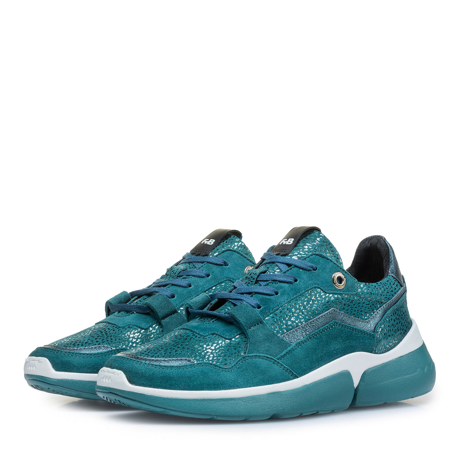 85291/11 - Blue suede leather sneaker with metallic print