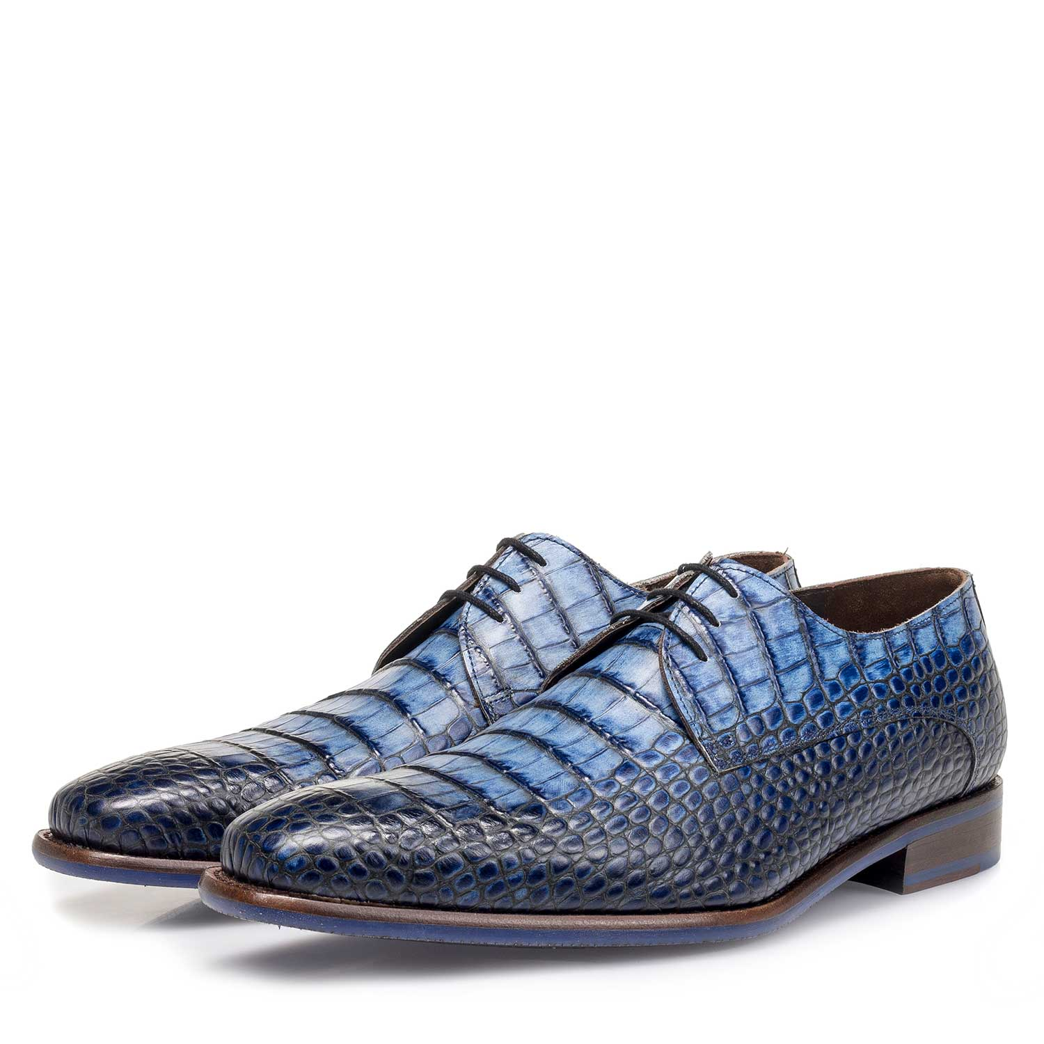 14204/12 - Blue croco print calf leather lace shoe