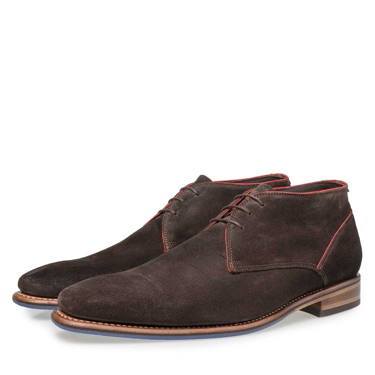 10673/13 - Dark brown suede leather lace boot