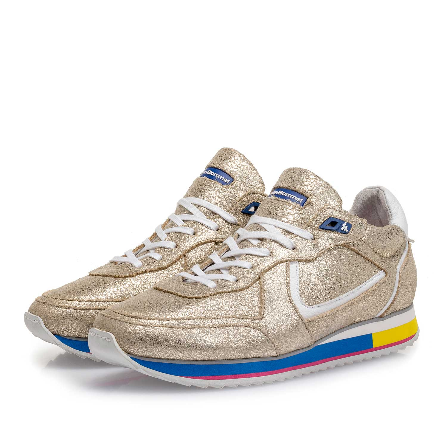 85260/13 - Golden metallic leather sneaker with craquelé effect
