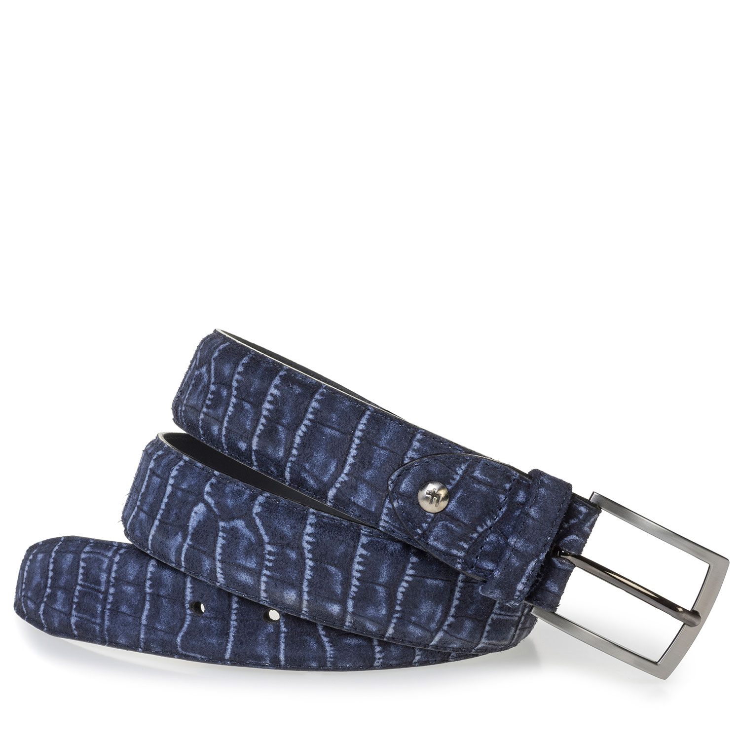 75201/80 - Blue suede leather belt with croco print