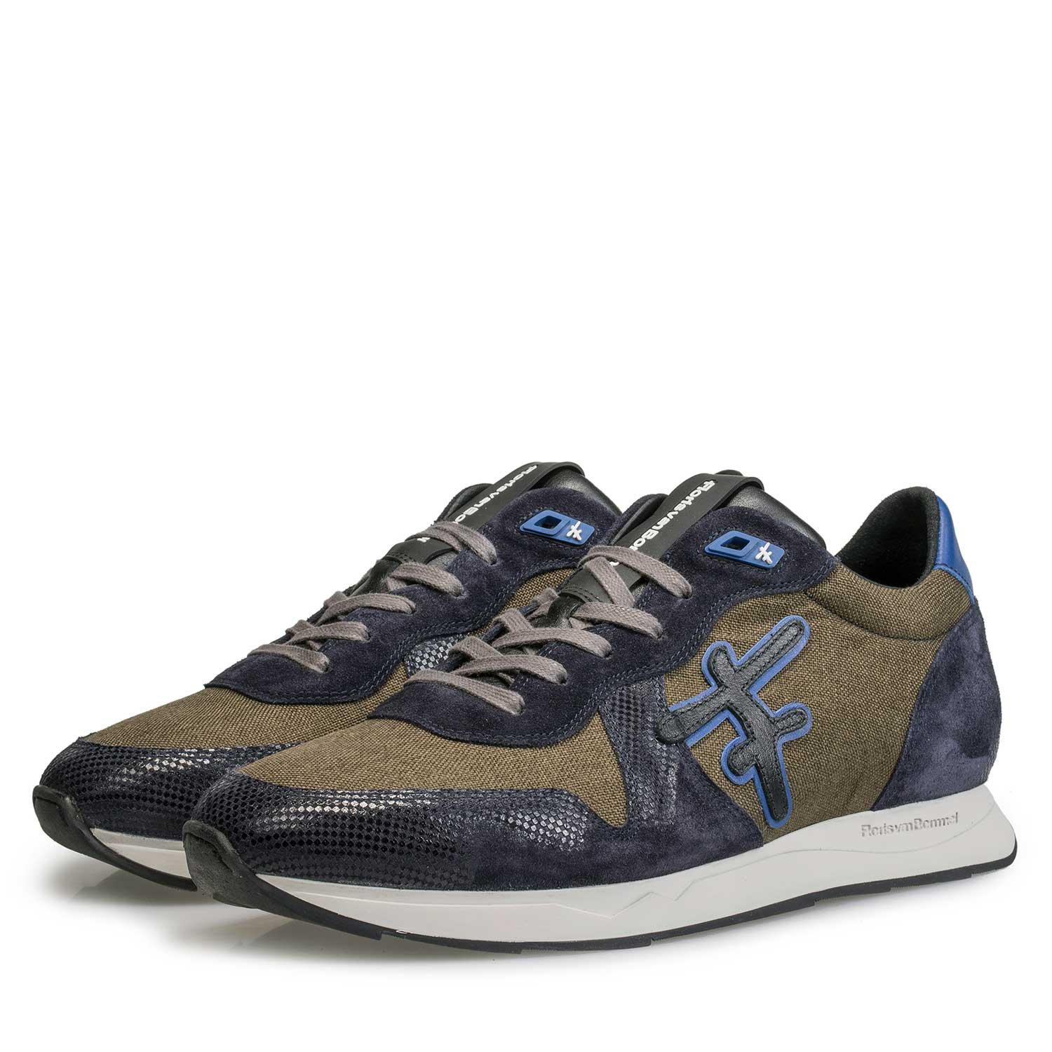 16226/04 - Olive green / Blue sneaker with white jogging sole