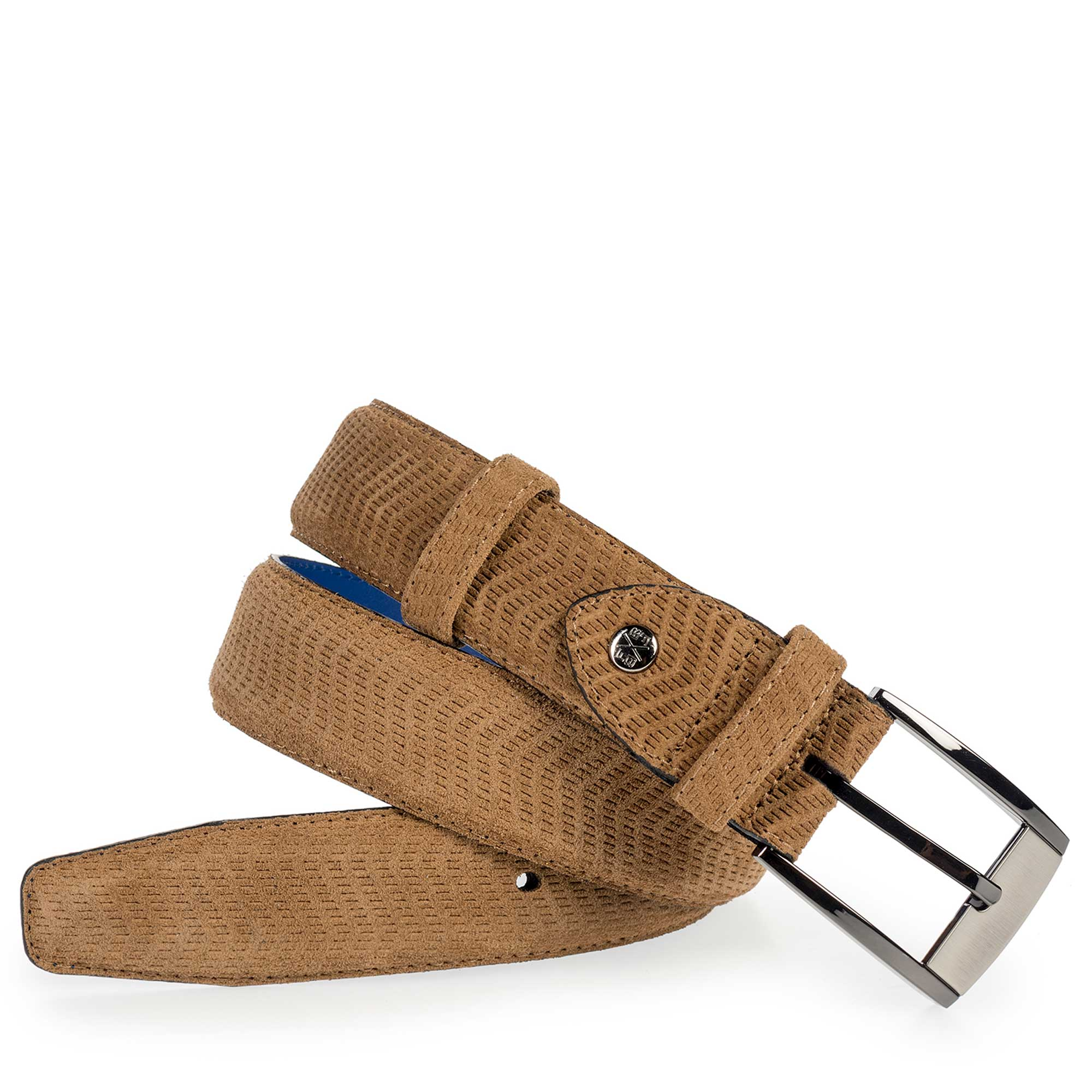 75180/10 - Cognac-coloured suede leather belt with pattern