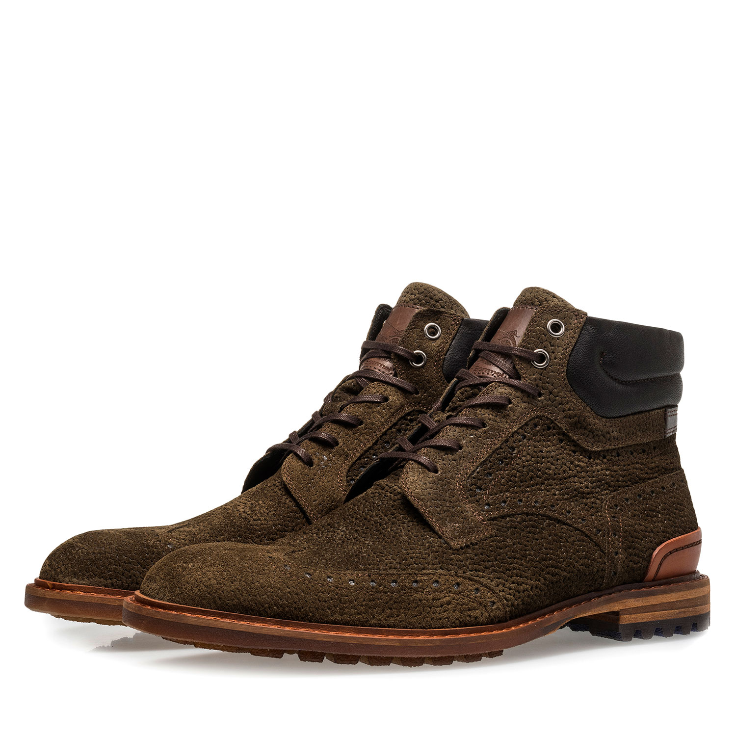 10816/03 - Olive green suede lace boot with print