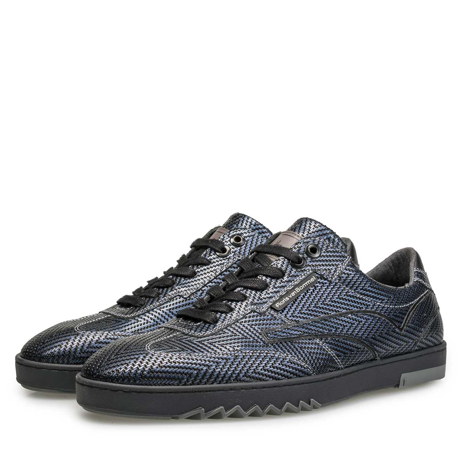 16074/32 - Blue Premium sneaker with herringbone pattern