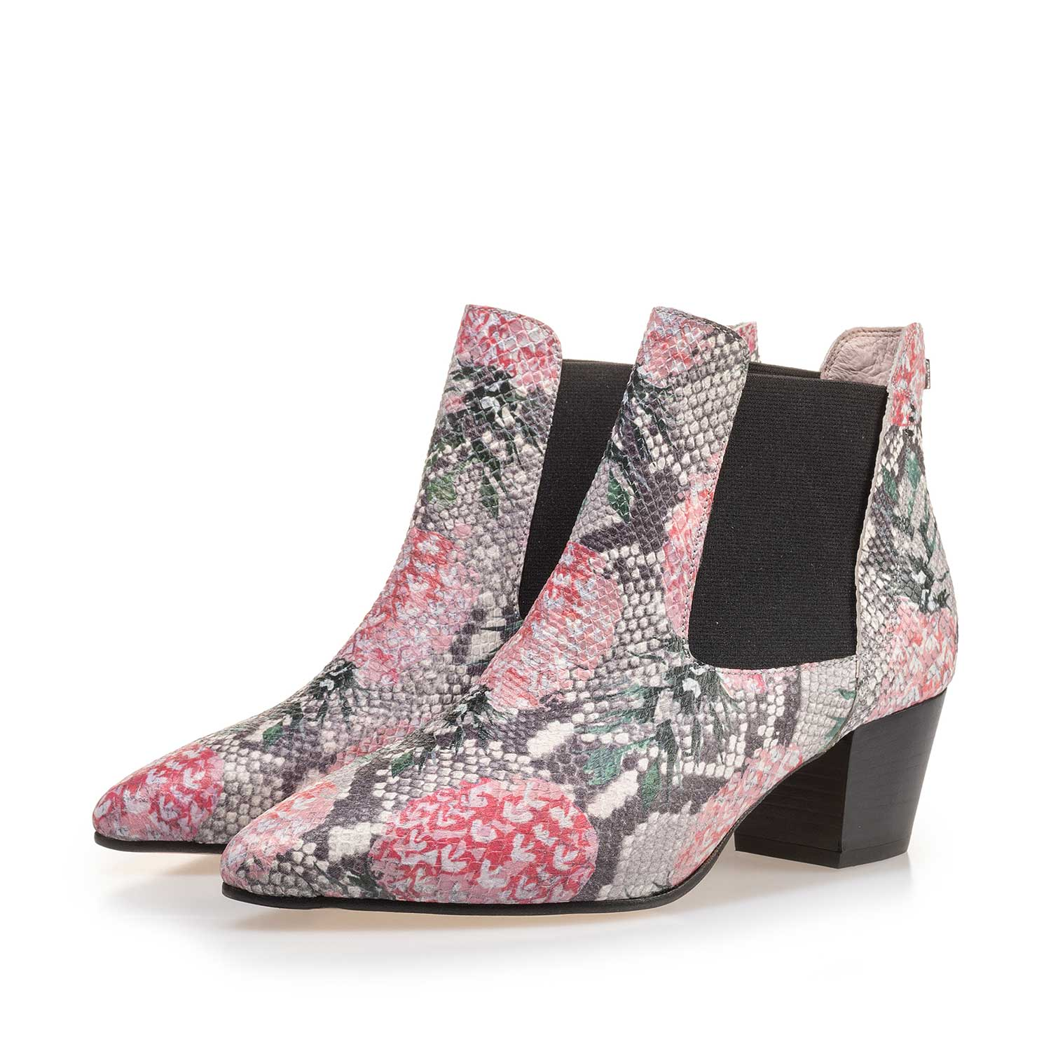 85250/02 - Multi-coloured leather Chelsea boot with printed motif