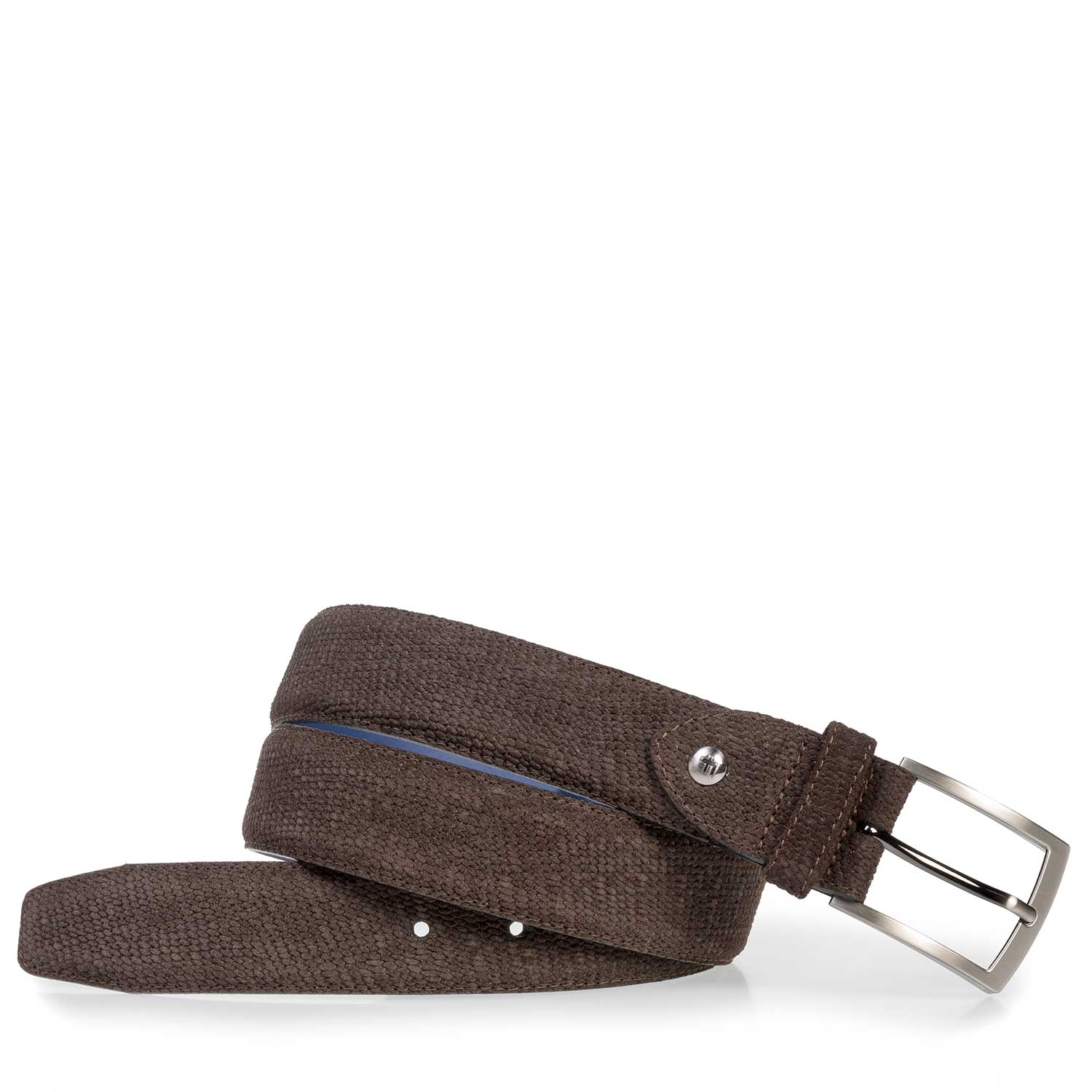 75201/56 - Dark brown suede leather belt with print