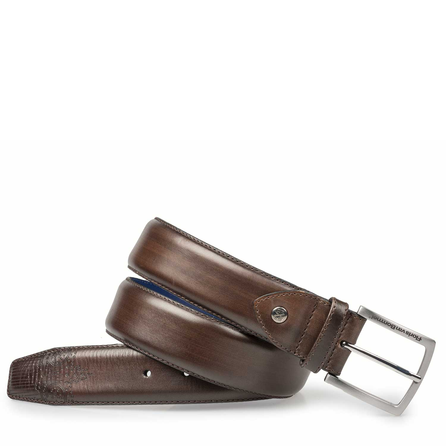 75185/02 - Brown brogue calf's leather belt