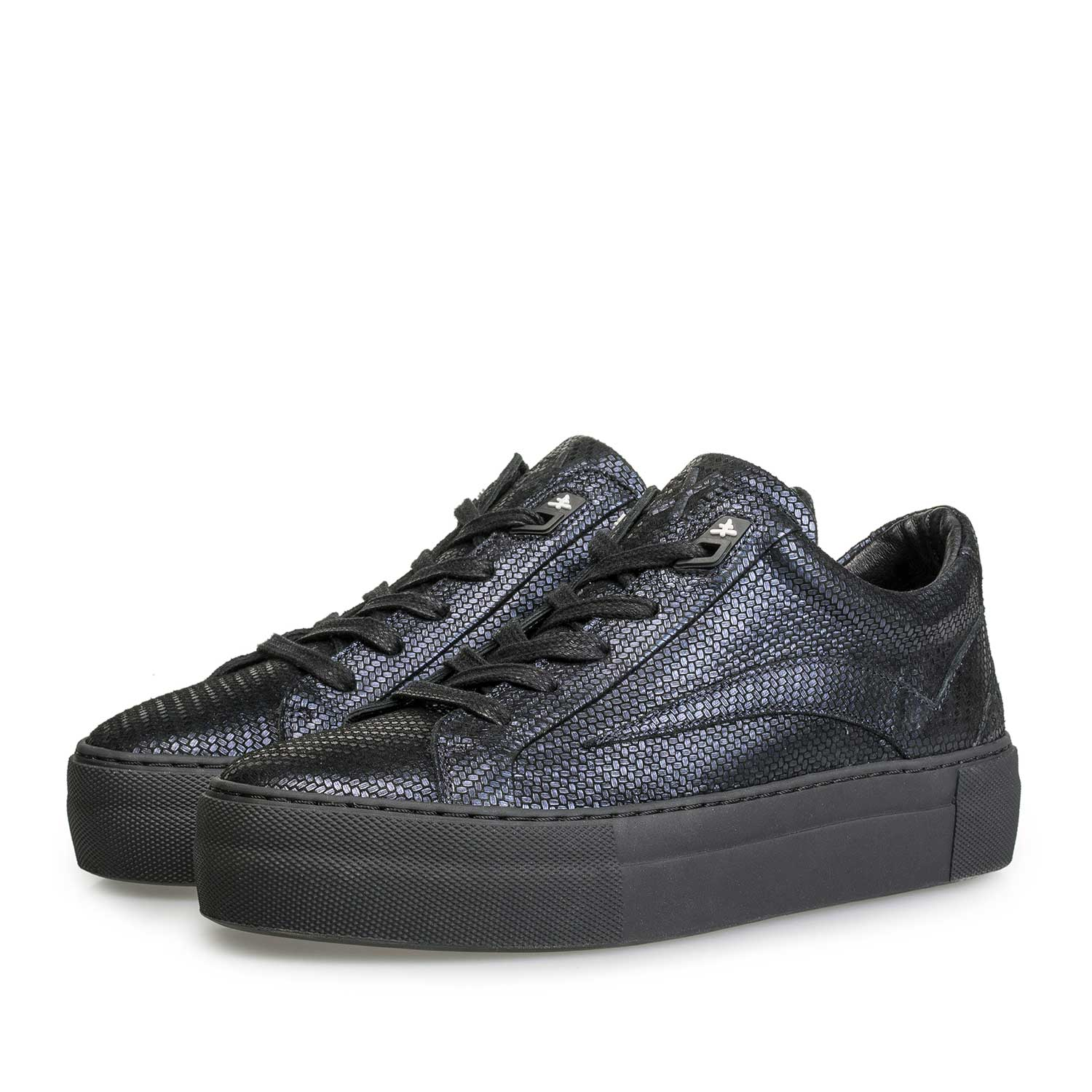 85252/04 - Blue leather sneaker with metallic print