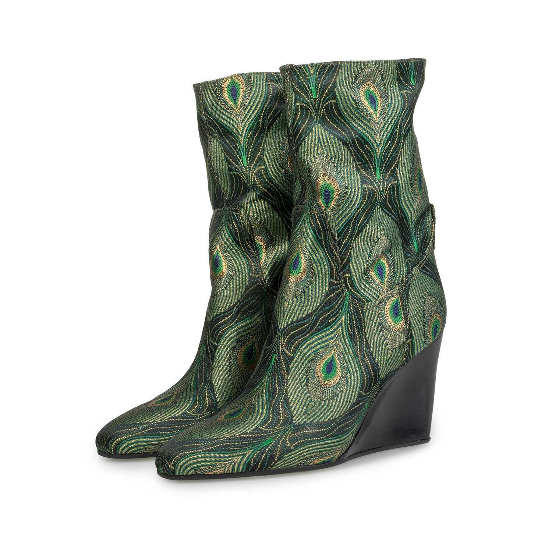 Halfhoge laars met pauwenprint – groen – 8570702|Floris van