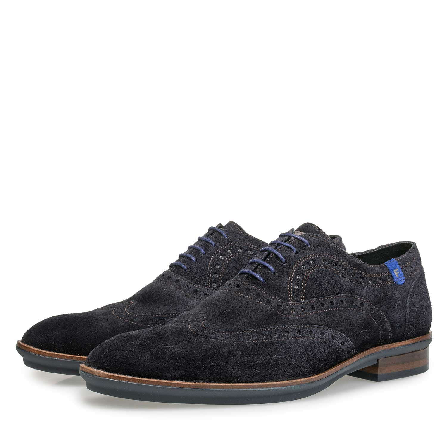 19048/03 - Blauwe suède brogue veterschoen