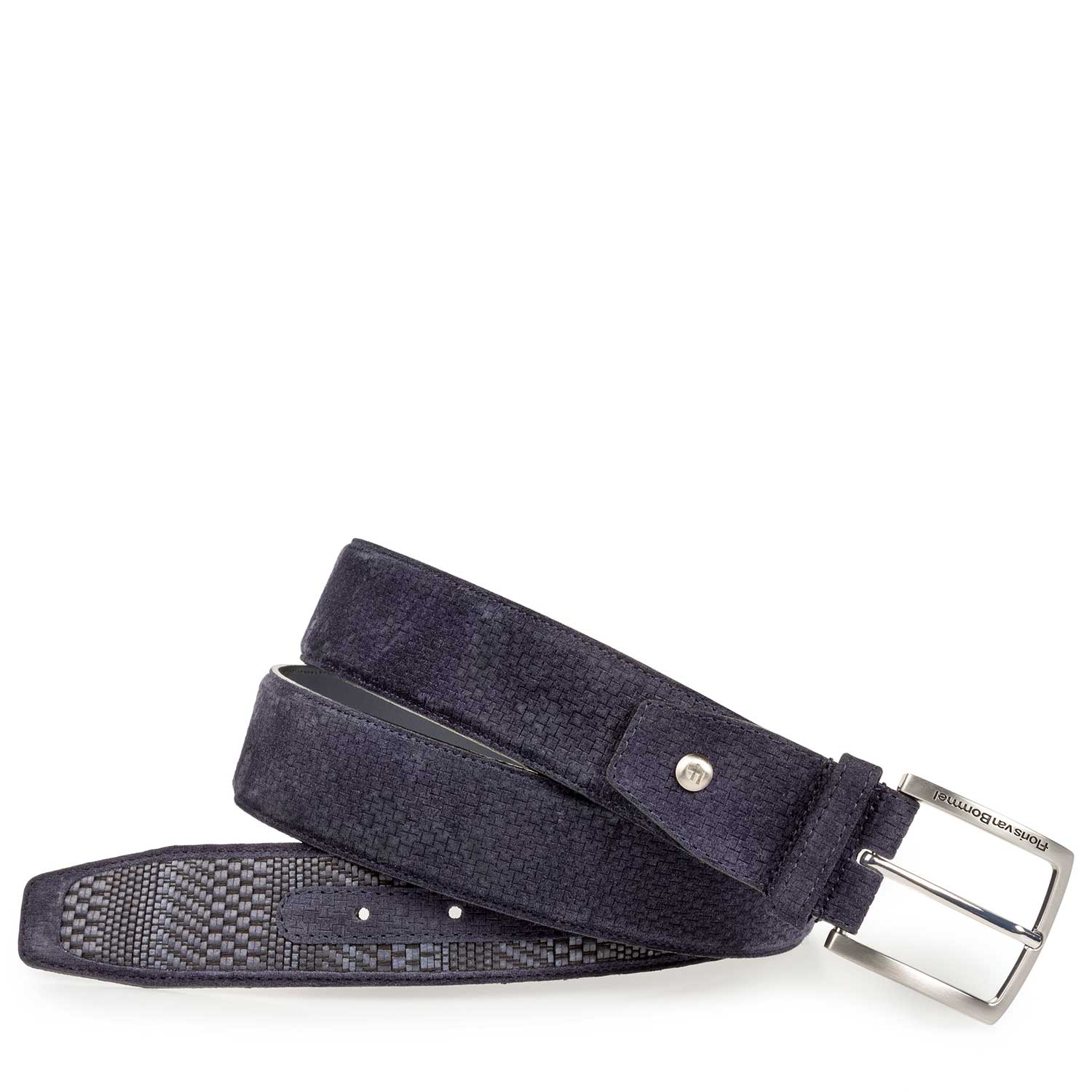 75159/16 - Dark blue belt with a braided pattern