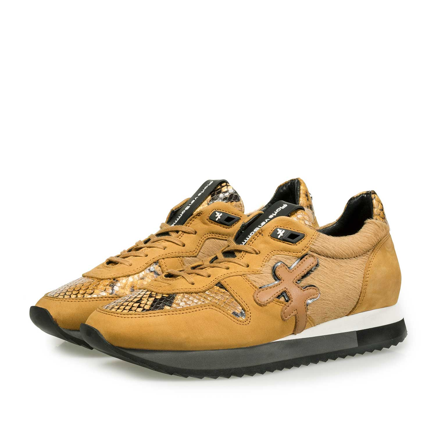 85256/01 - Ochre yellow sneaker with pony hair