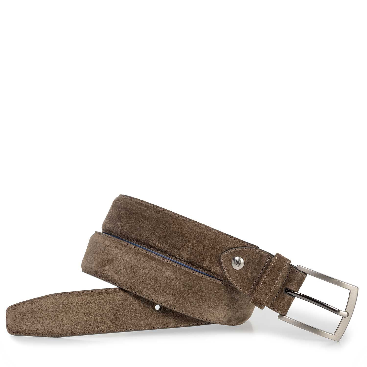 75201/45 - Dark taupe-coloured suede leather belt