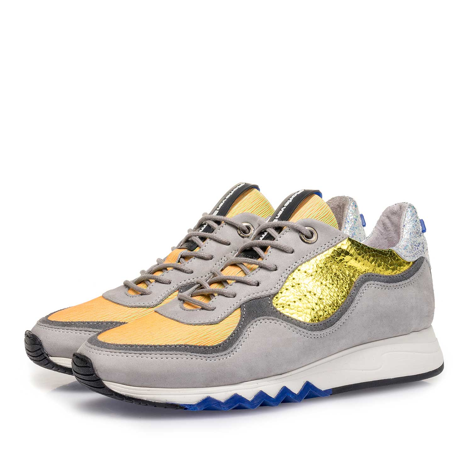 85265/07 - Grey nubuck leather sneaker with yellow details