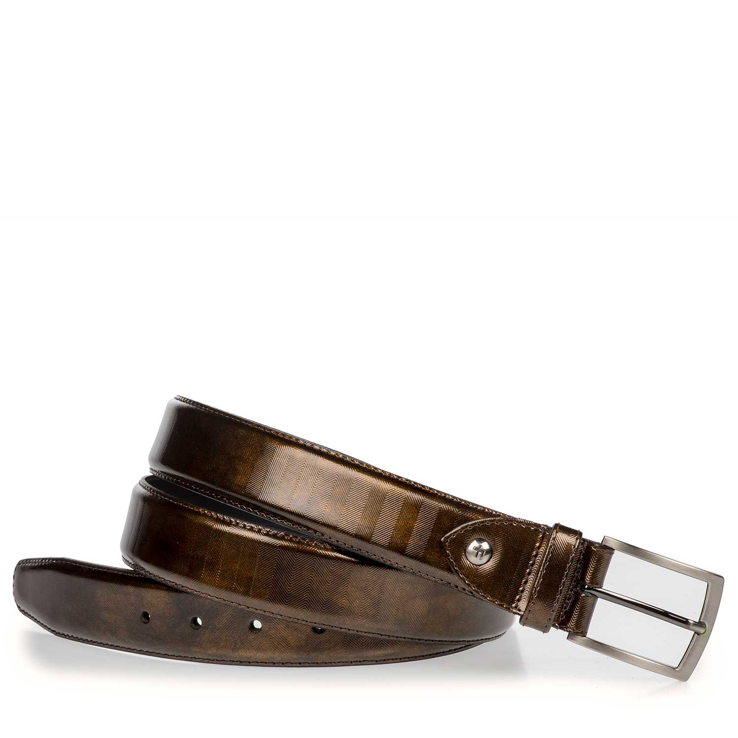 75190/01 - Bronze-coloured Premium patent leather belt