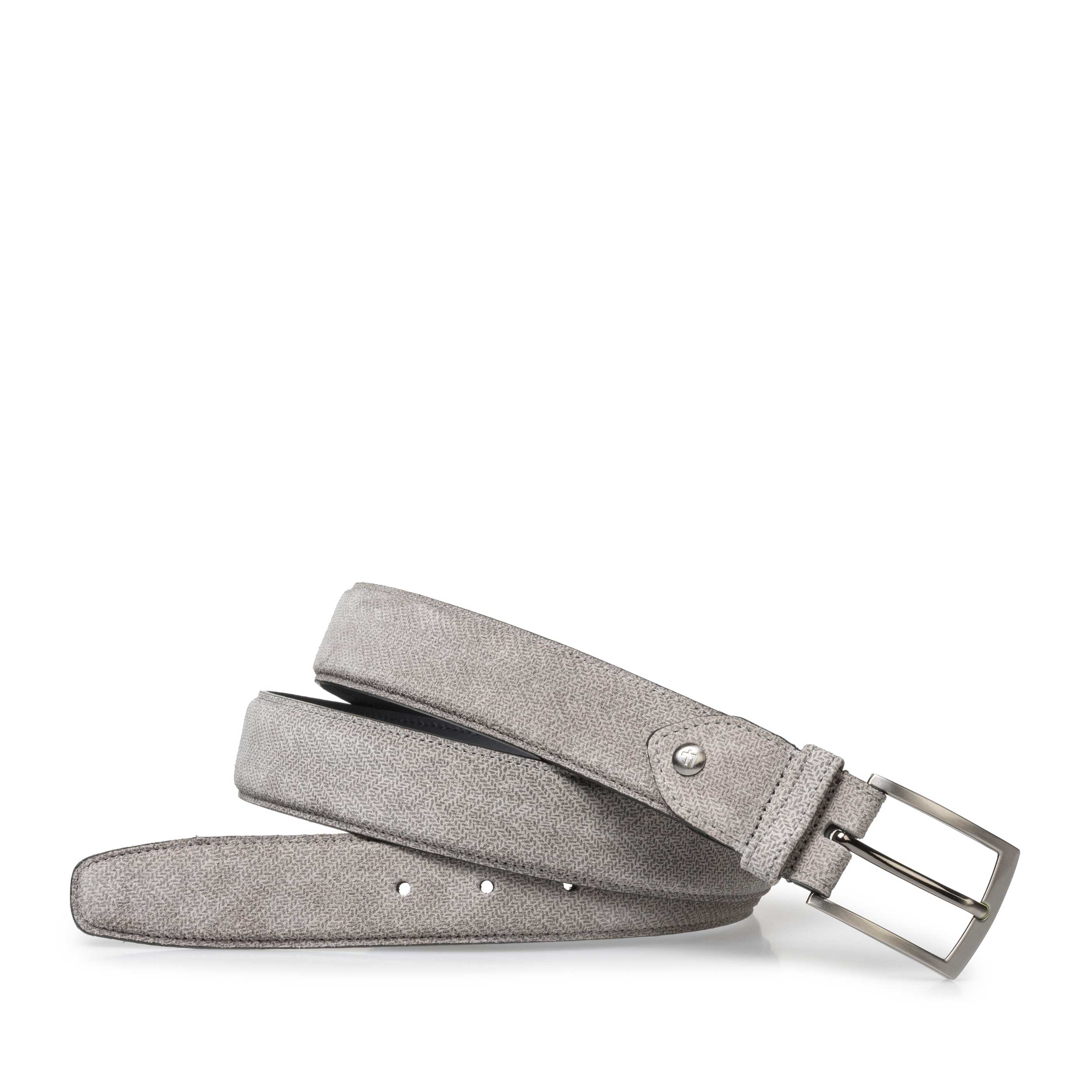 75201/73 - Light grey suede leather belt with print