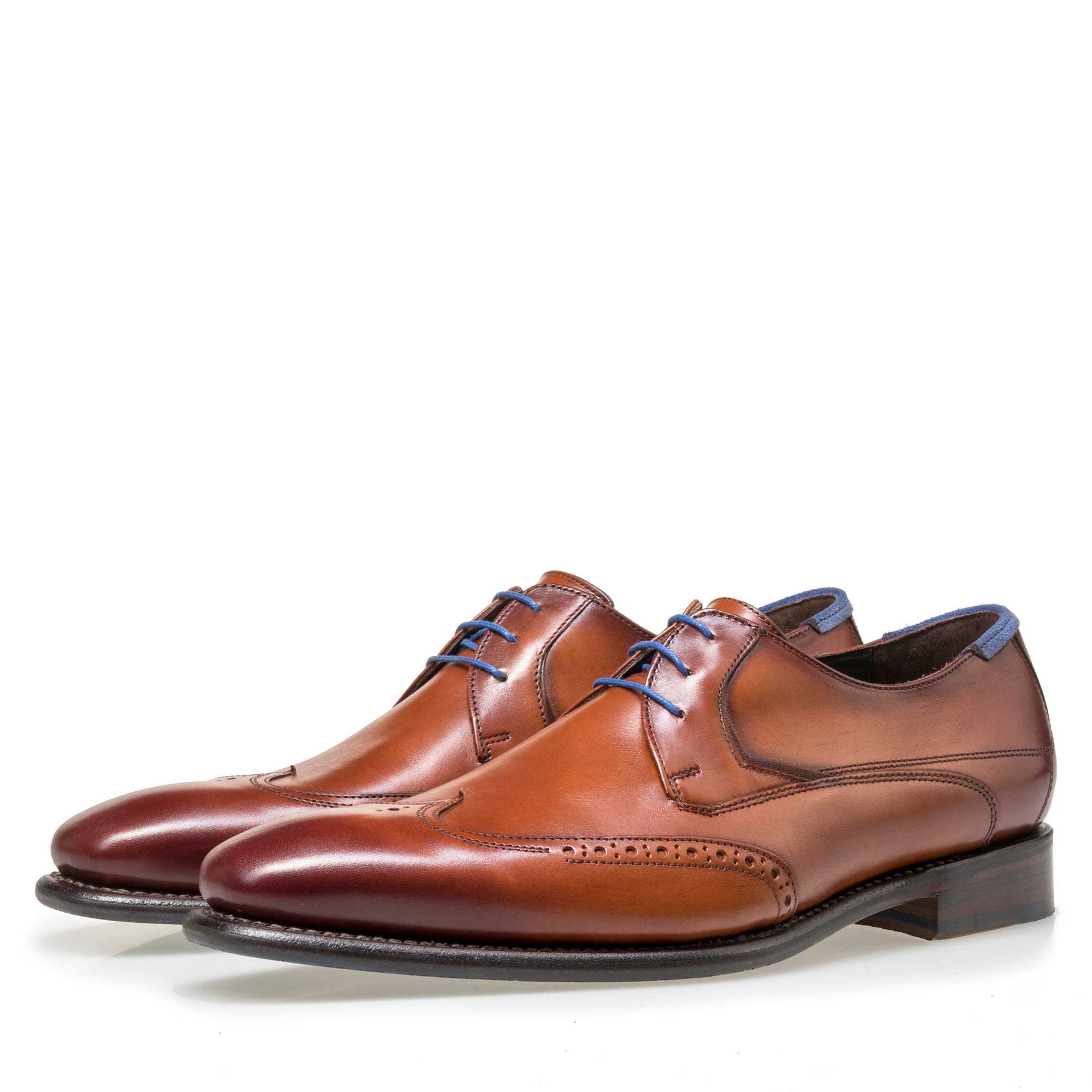 18039/04 - Floris van Bommel men's cognac-coloured leather lace shoe