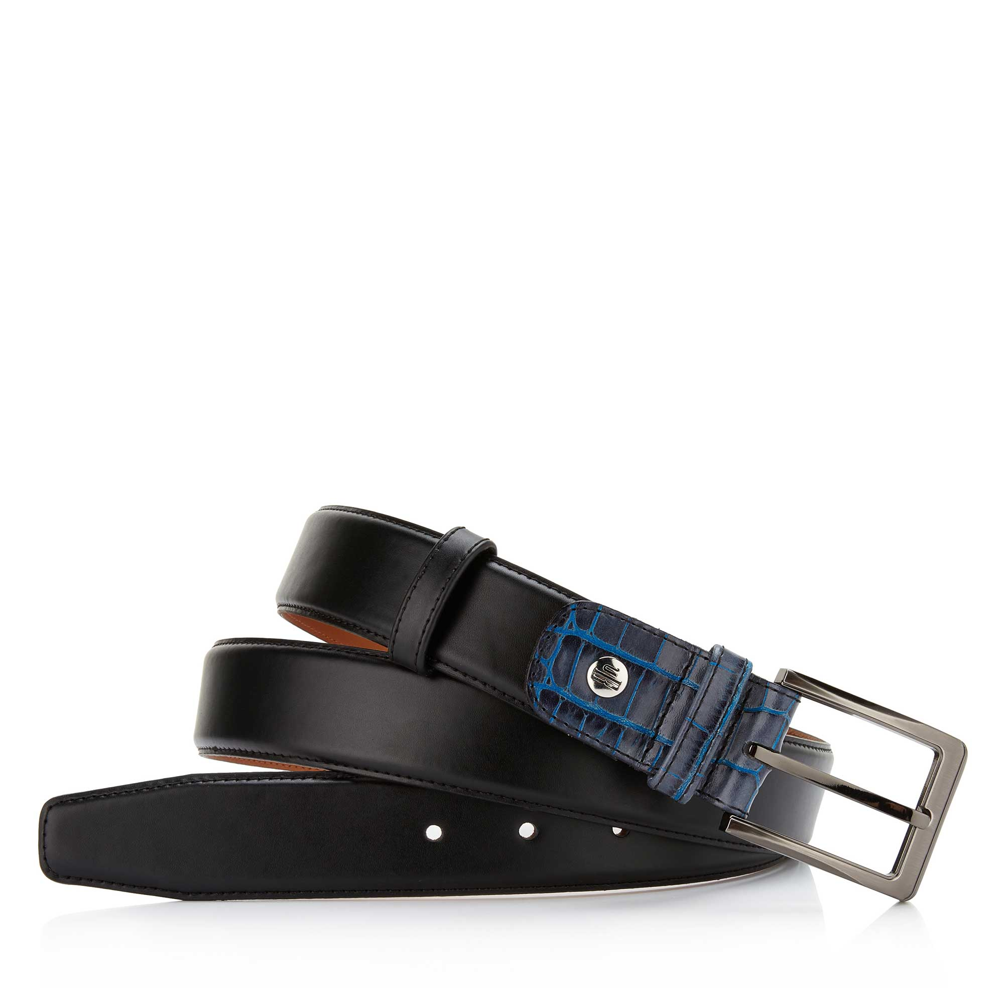 75055/01 - Floris van Bommel black leather men's belt