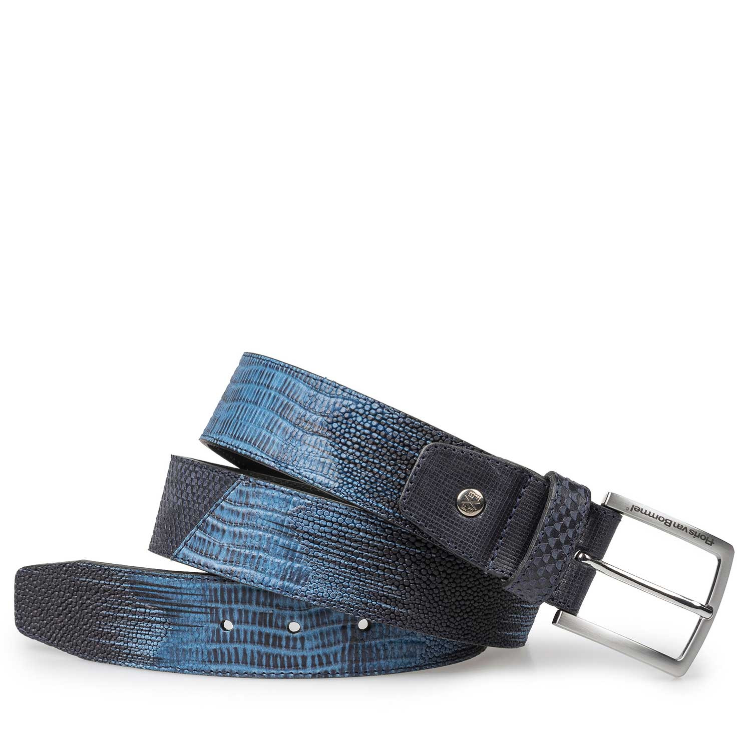 75161/11 - Blue leather belt with structural pattern