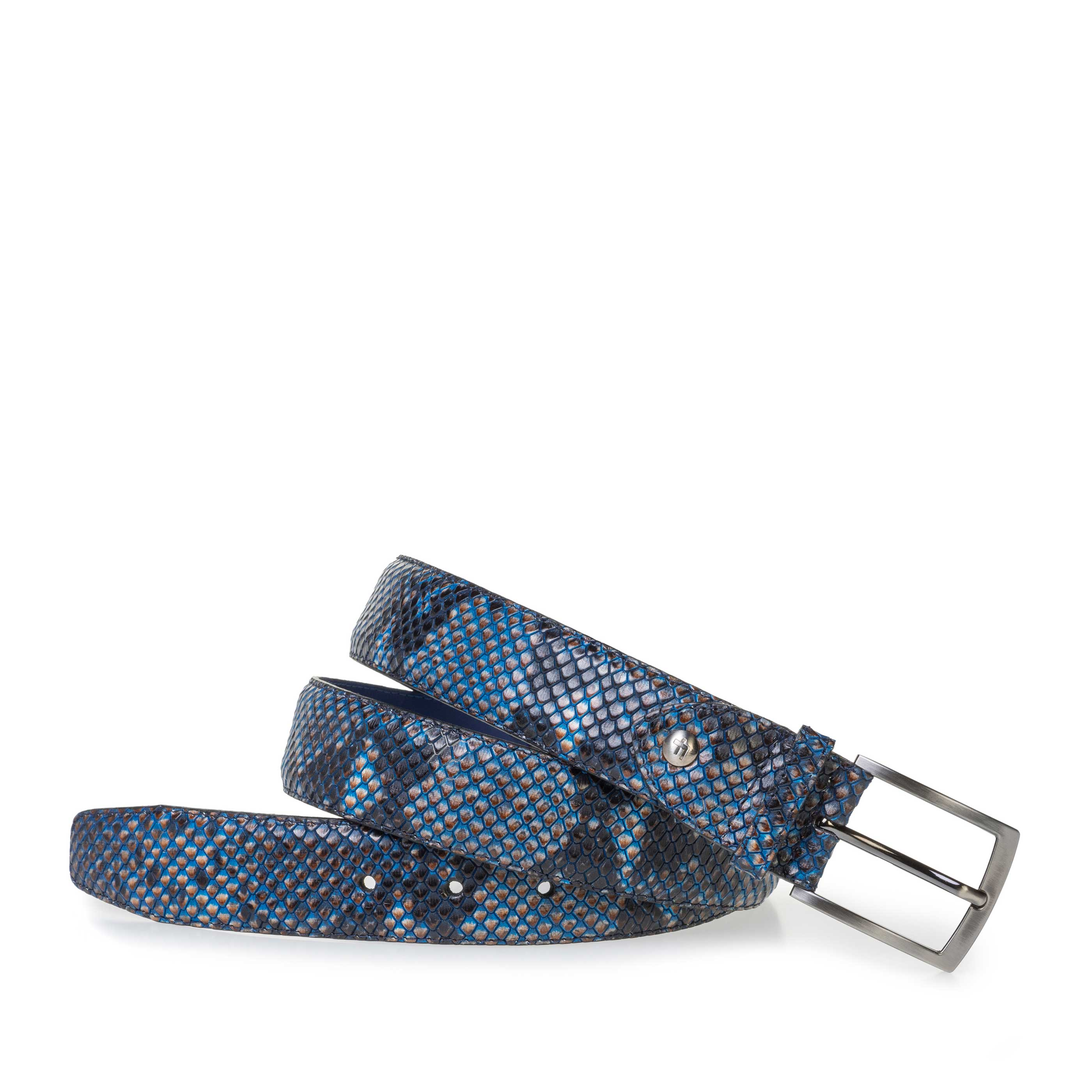 75200/80 - Blue leather belt with snake print