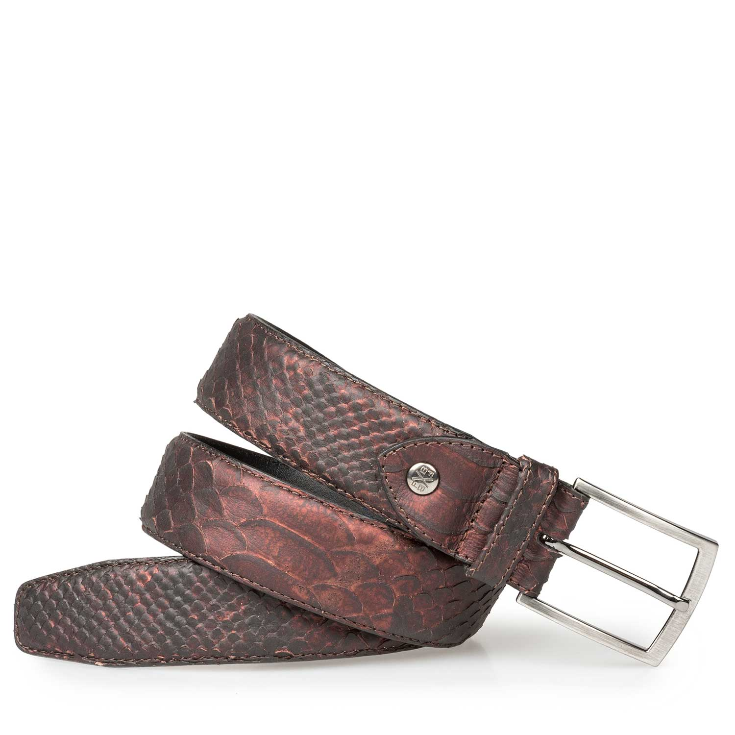 75190/04 - Leather belt with snake print